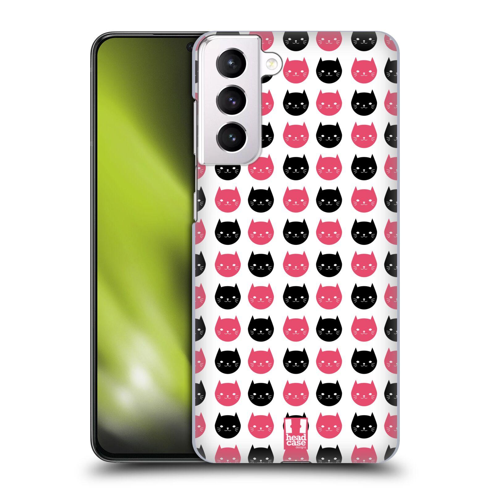 Plastové pouzdro na mobil Samsung Galaxy S21 Plus 5G - Head Case - KOČKY Black and Pink