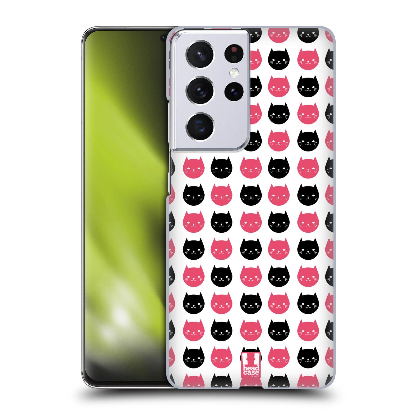 Plastové pouzdro na mobil Samsung Galaxy S21 Ultra 5G - Head Case - KOČKY Black and Pink