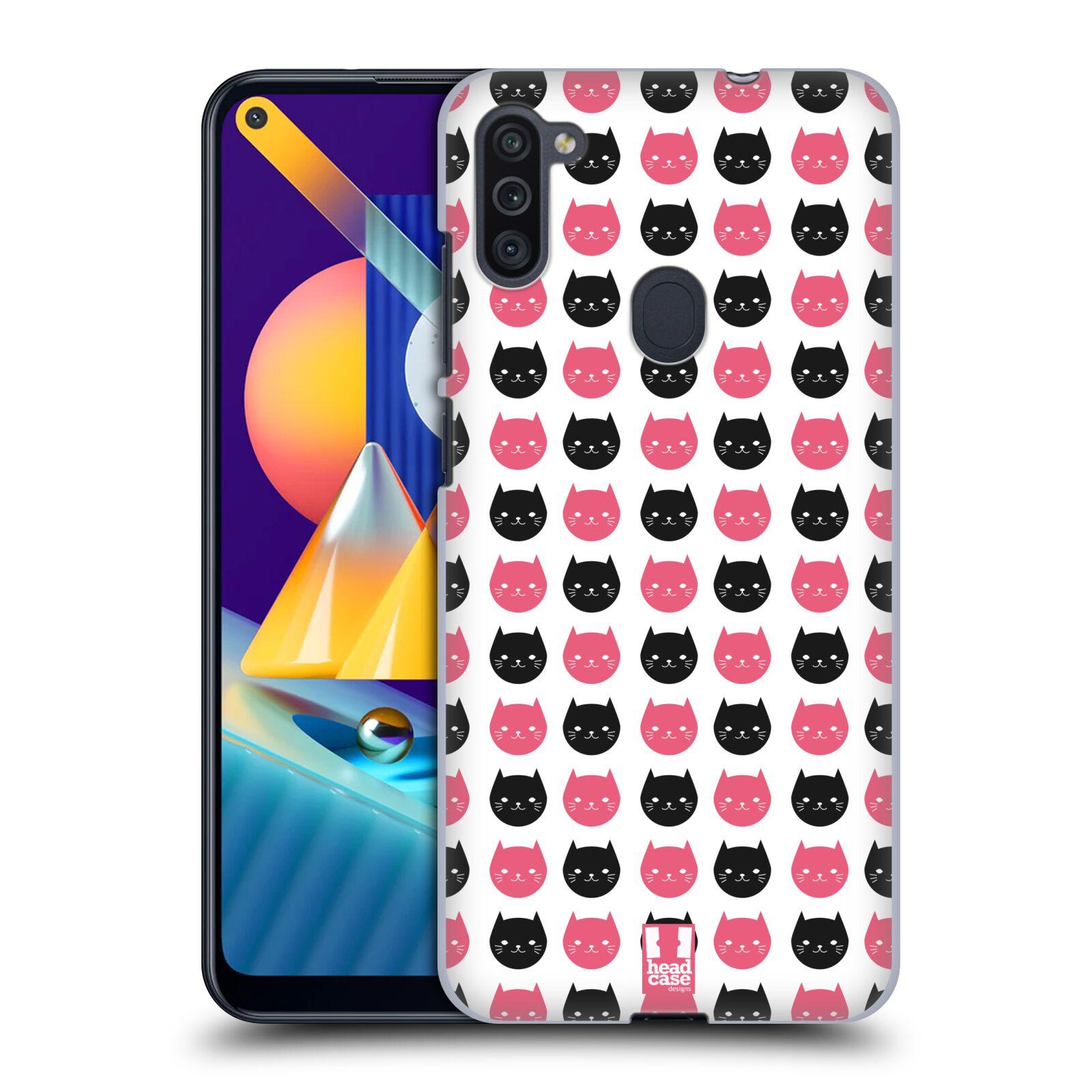Plastové pouzdro na mobil Samsung Galaxy M11 - Head Case - KOČKY Black and Pink