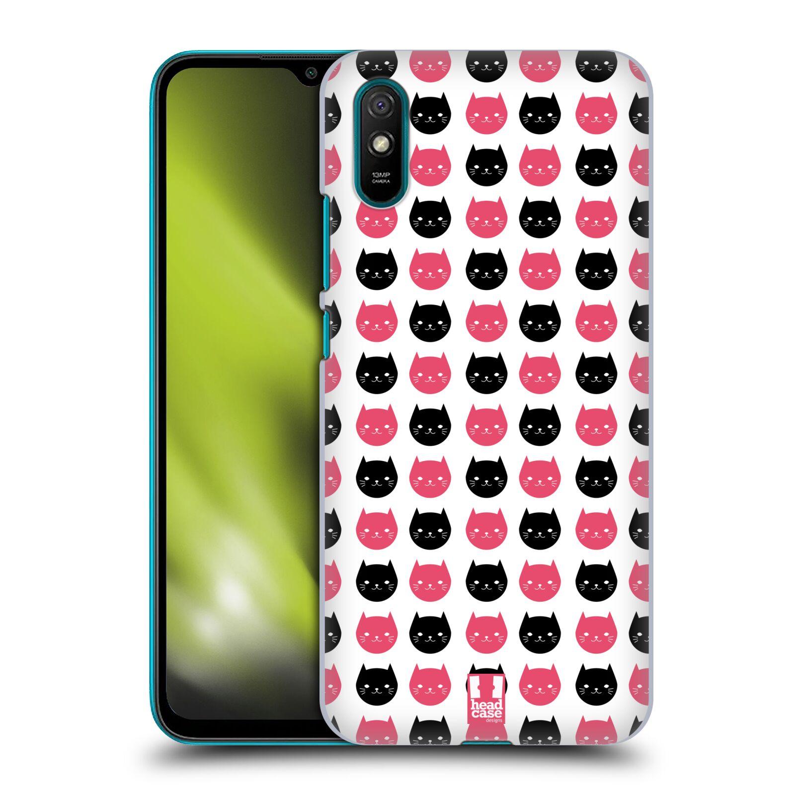 Plastové pouzdro na mobil Xiaomi Redmi 9A / Xiaomi Redmi 9AT - Head Case - KOČKY Black and Pink