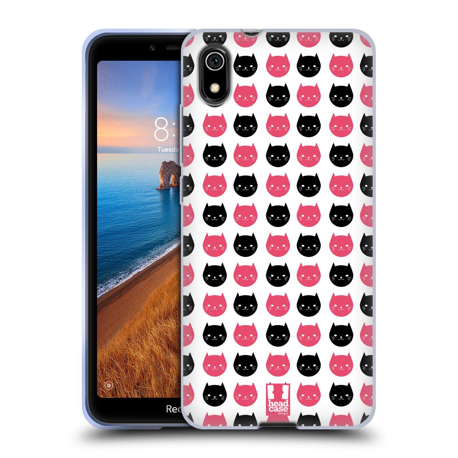 Silikonové pouzdro na mobil Redmi 7A - Head Case - KOČKY Black and Pink
