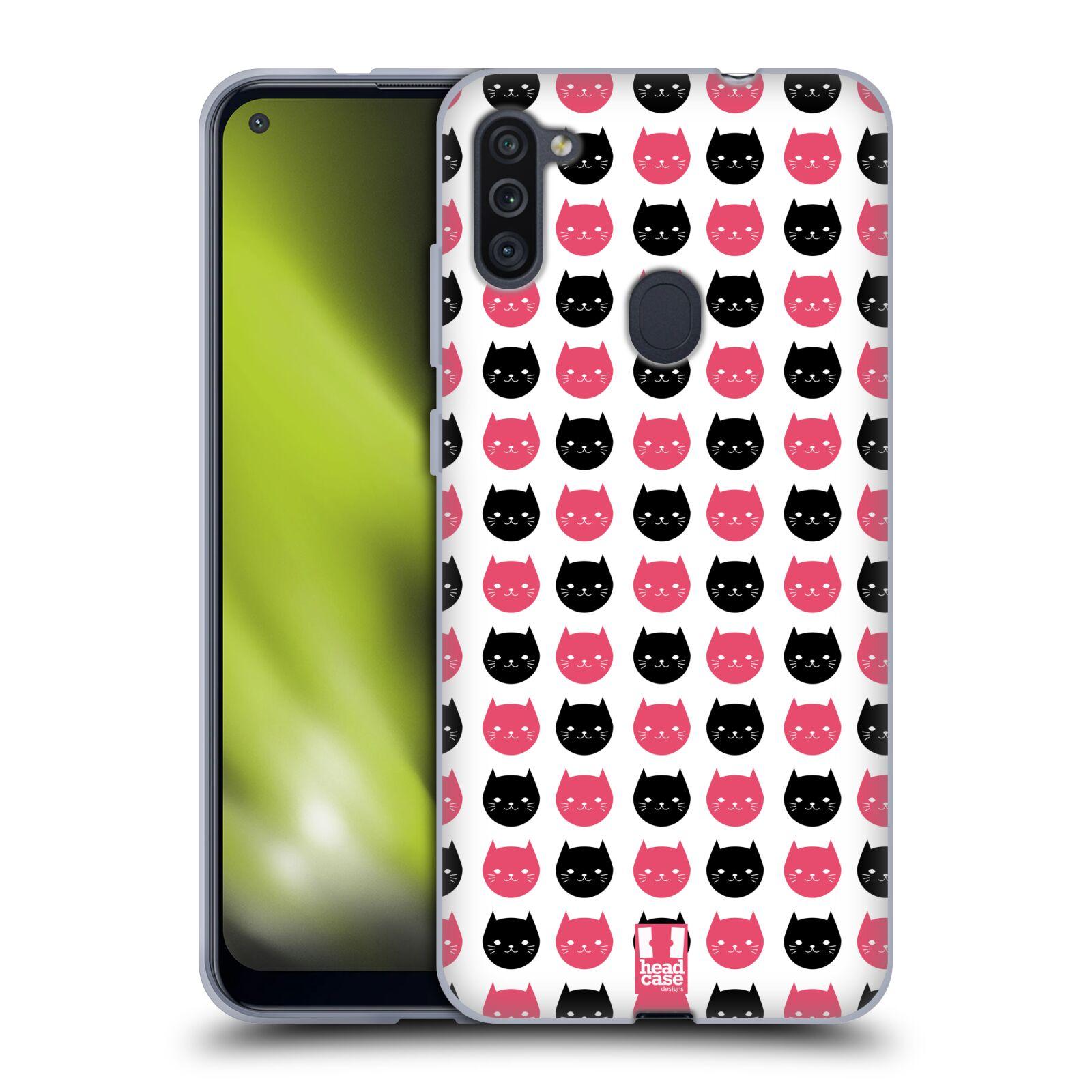 Silikonové pouzdro na mobil Samsung Galaxy M11 - Head Case - KOČKY Black and Pink
