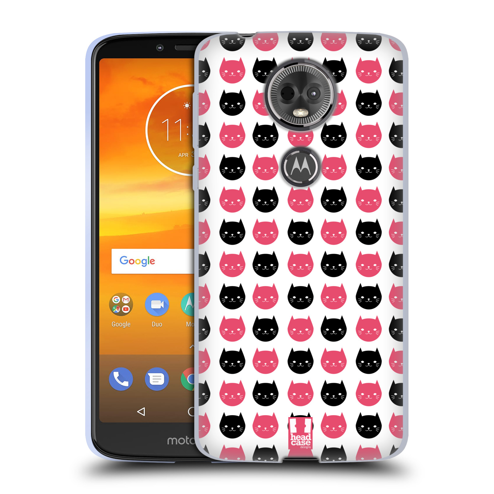 Silikonové pouzdro na mobil Motorola Moto E5 Plus - Head Case - KOČKY Black and Pink
