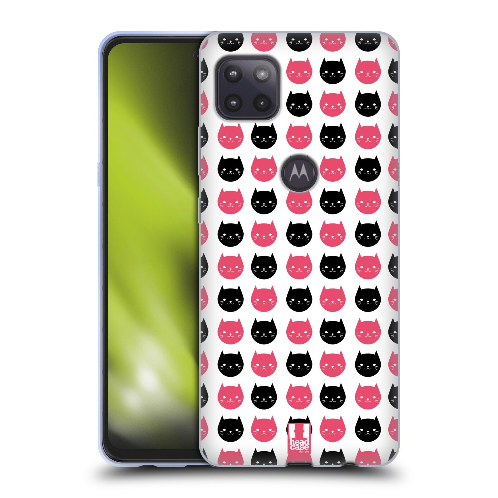 Silikonové pouzdro na mobil Motorola Moto G 5G - Head Case - KOČKY Black and Pink