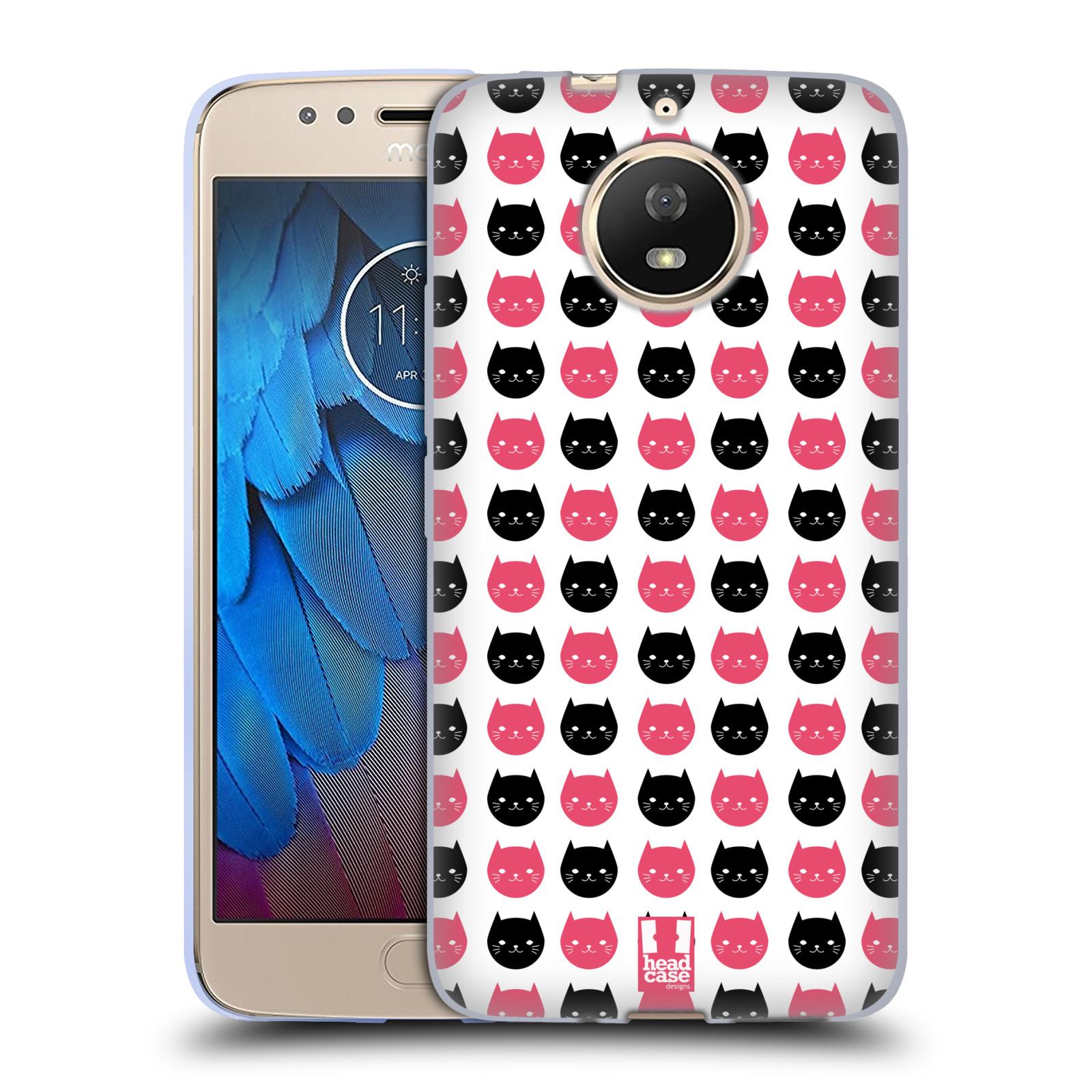 Silikonové pouzdro na mobil Lenovo Moto G5s - Head Case - KOČKY Black and Pink