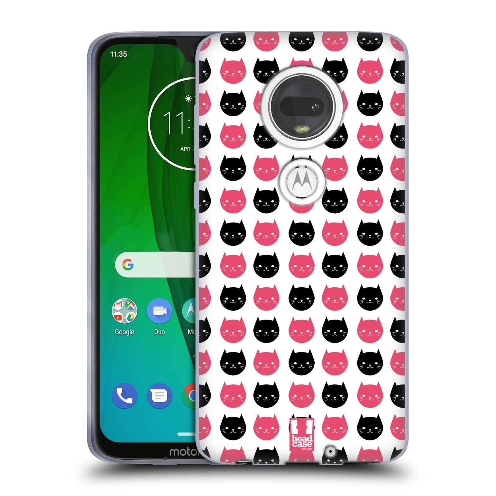 Silikonové pouzdro na mobil Motorola Moto G7 - Head Case - KOČKY Black and Pink
