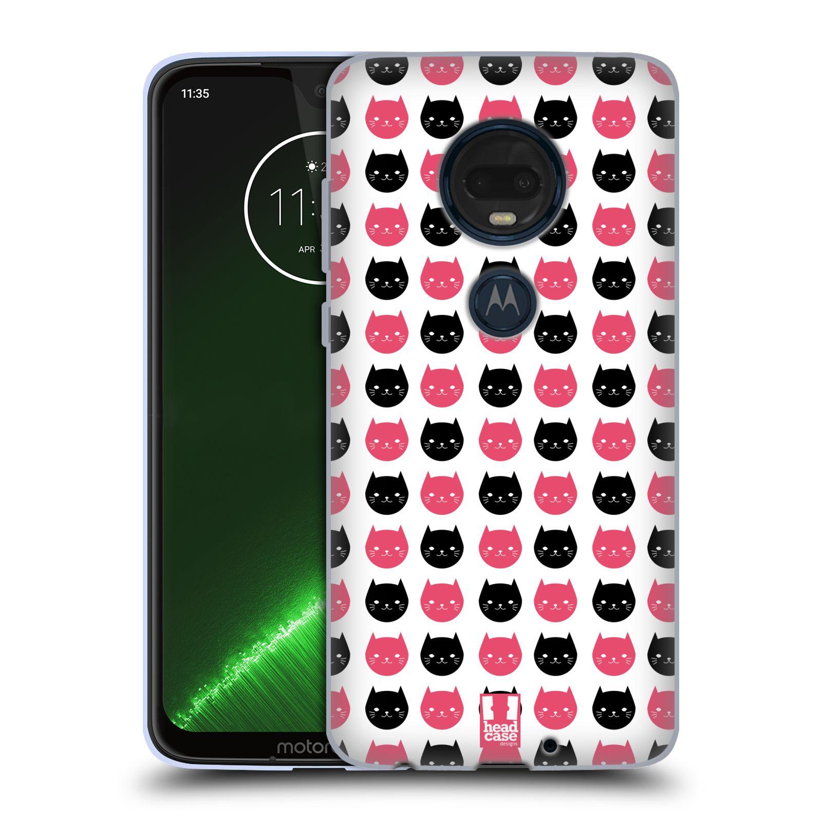 Silikonové pouzdro na mobil Motorola Moto G7 Plus - Head Case - KOČKY Black and Pink