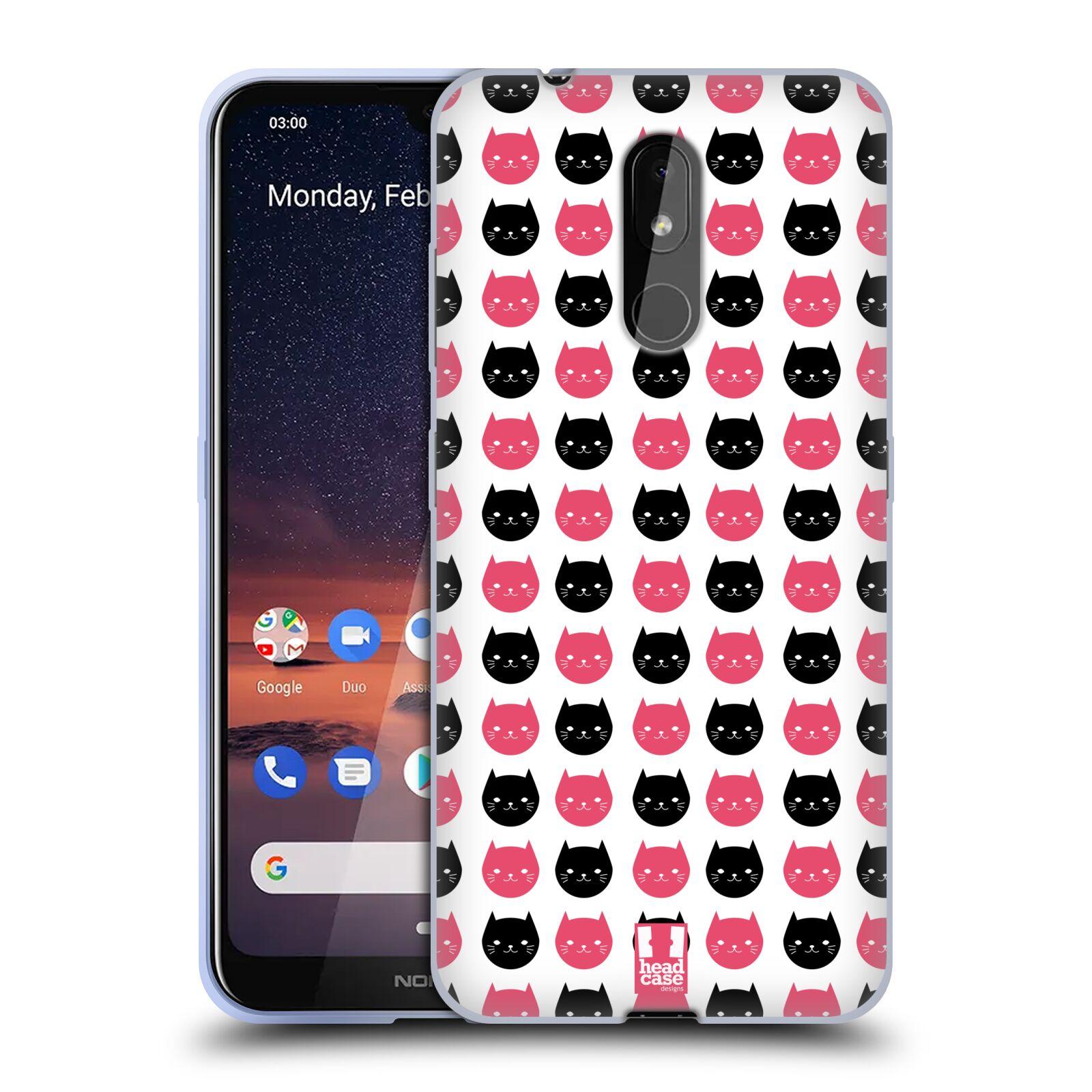 Silikonové pouzdro na mobil Nokia 3.2 - Head Case - KOČKY Black and Pink