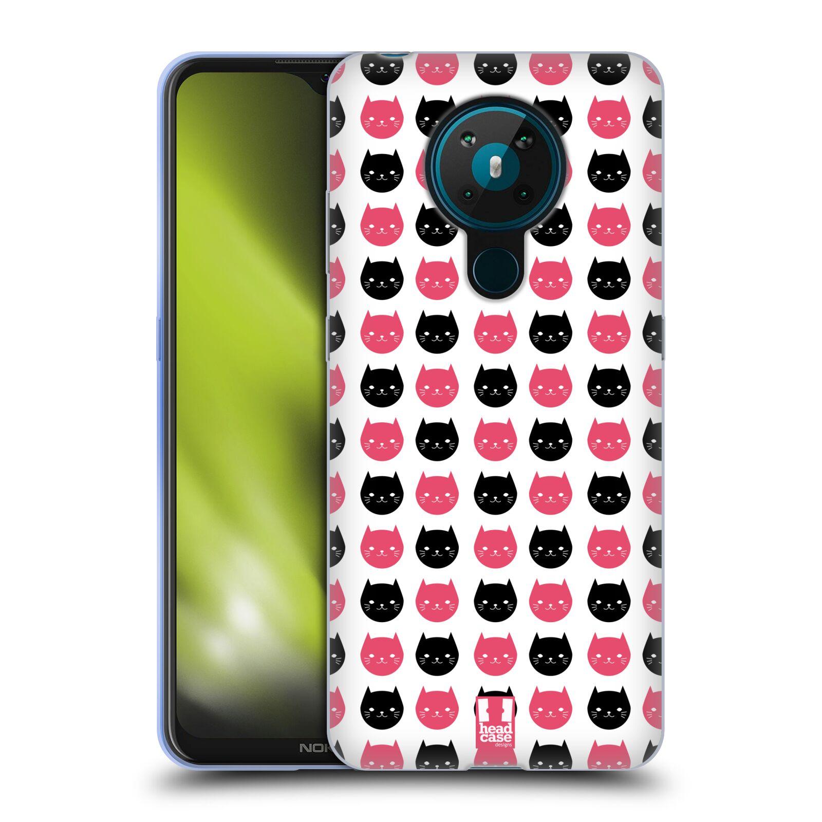 Silikonové pouzdro na mobil Nokia 5.3 - Head Case - KOČKY Black and Pink
