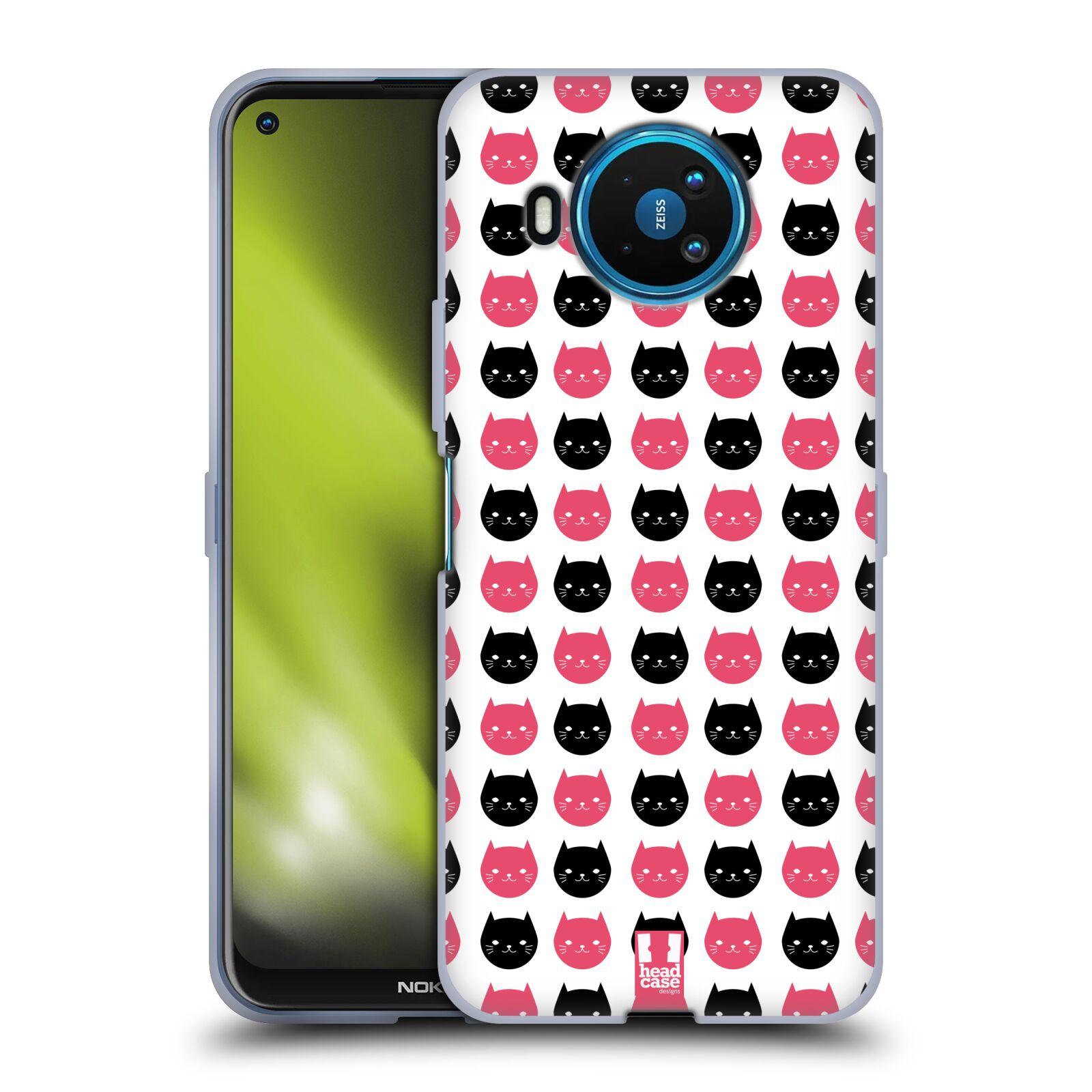 Silikonové pouzdro na mobil Nokia 8.3 5G - Head Case - KOČKY Black and Pink