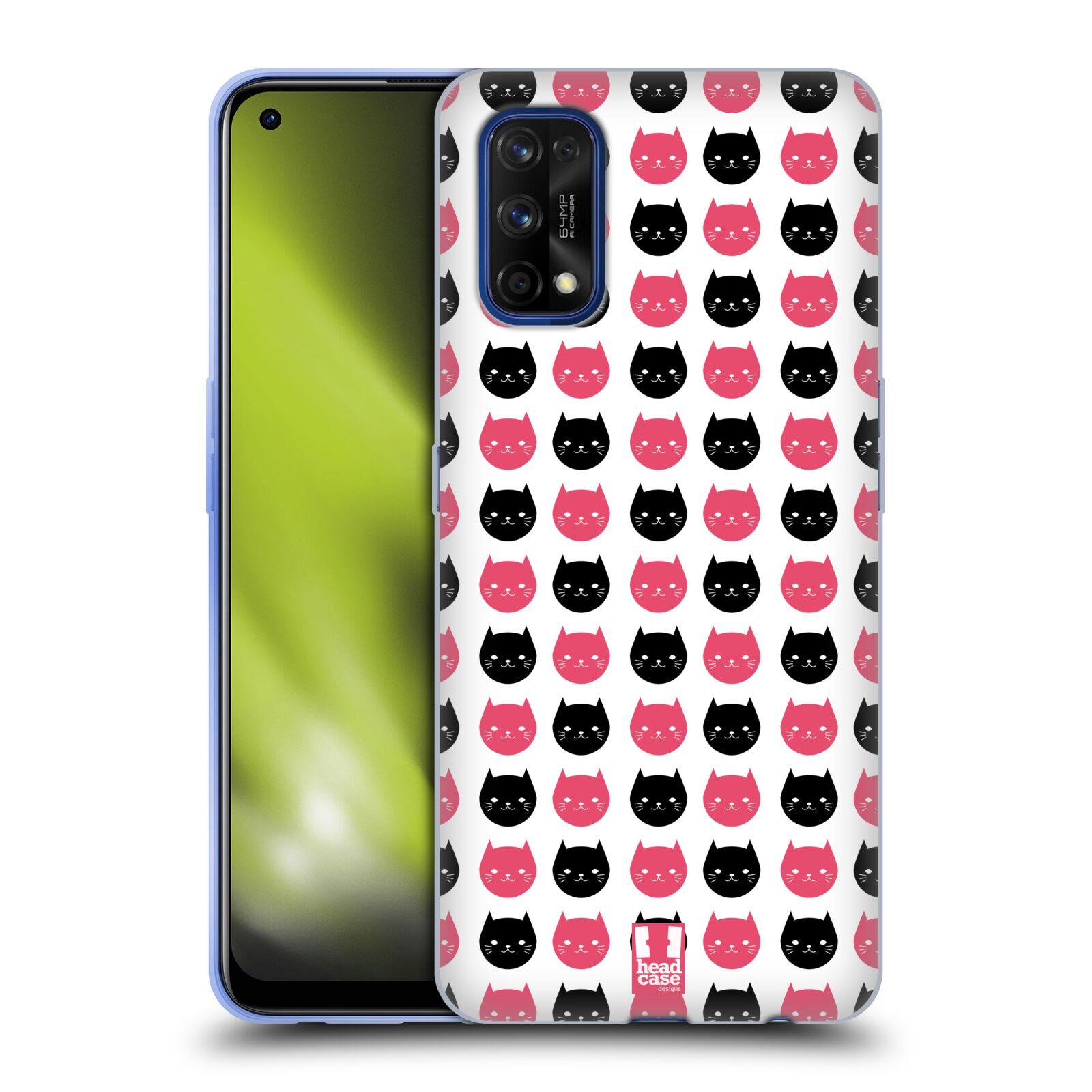 Silikonové pouzdro na mobil Realme 7 Pro - Head Case - KOČKY Black and Pink