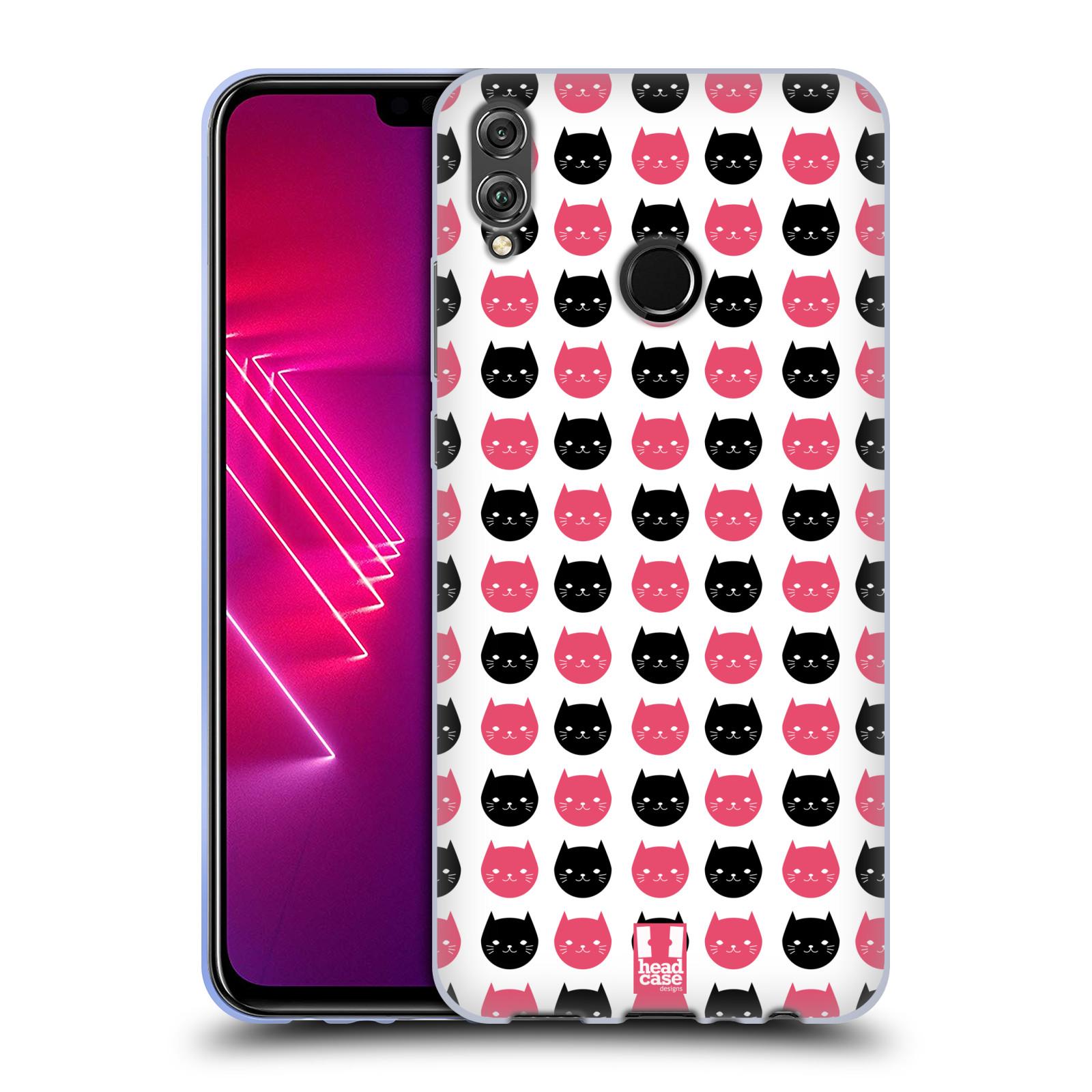 Silikonové pouzdro na mobil Honor View 10 Lite - Head Case - KOČKY Black and Pink