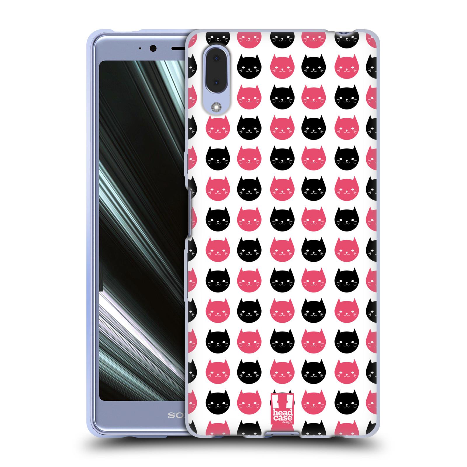 Silikonové pouzdro na mobil Sony Xperia L3 - Head Case - KOČKY Black and Pink