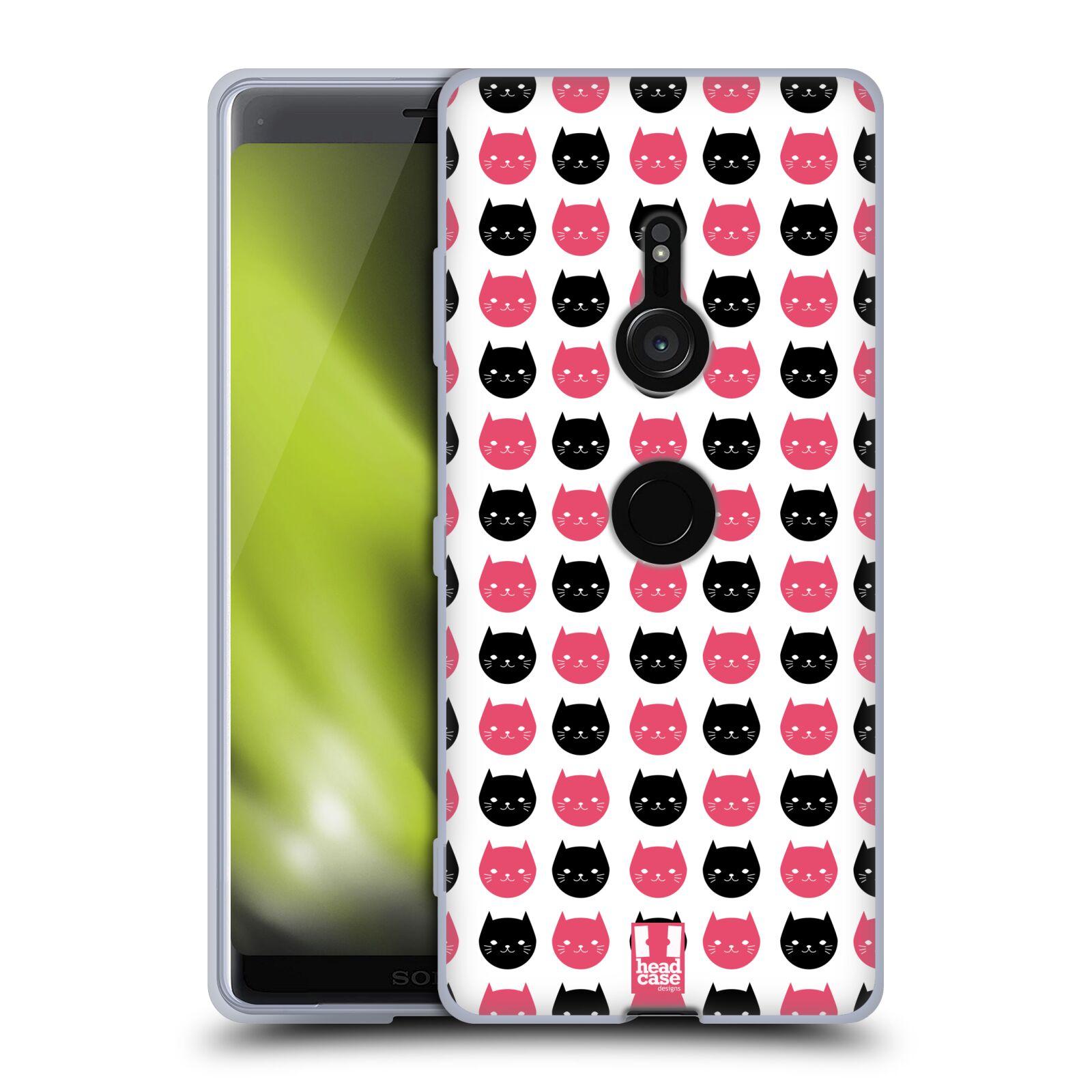 Silikonové pouzdro na mobil Sony Xperia XZ3 - Head Case - KOČKY Black and Pink