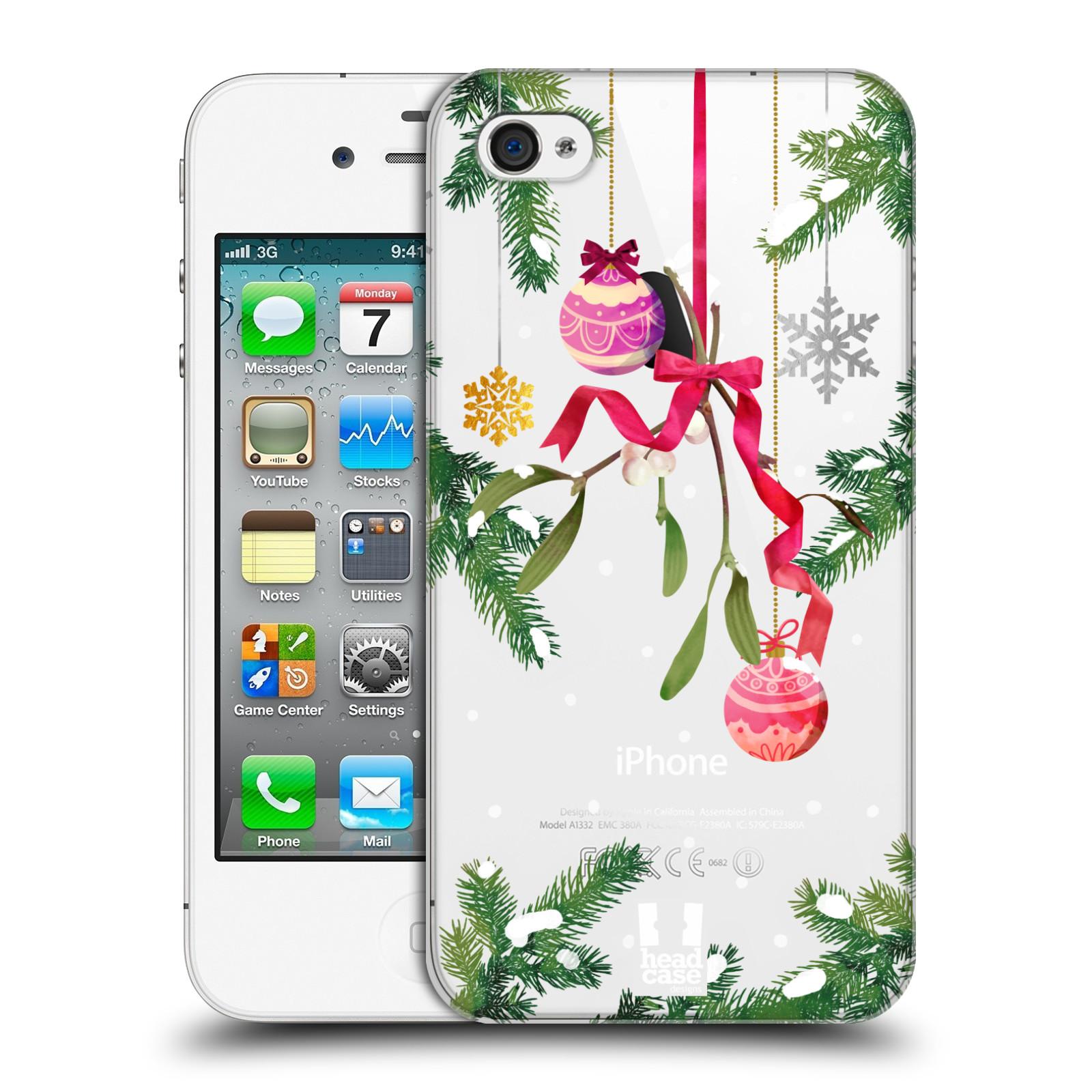 Plastové pouzdro na mobil Apple iPhone 4 a 4S - Head Case - Větvičky a vánoční ozdoby