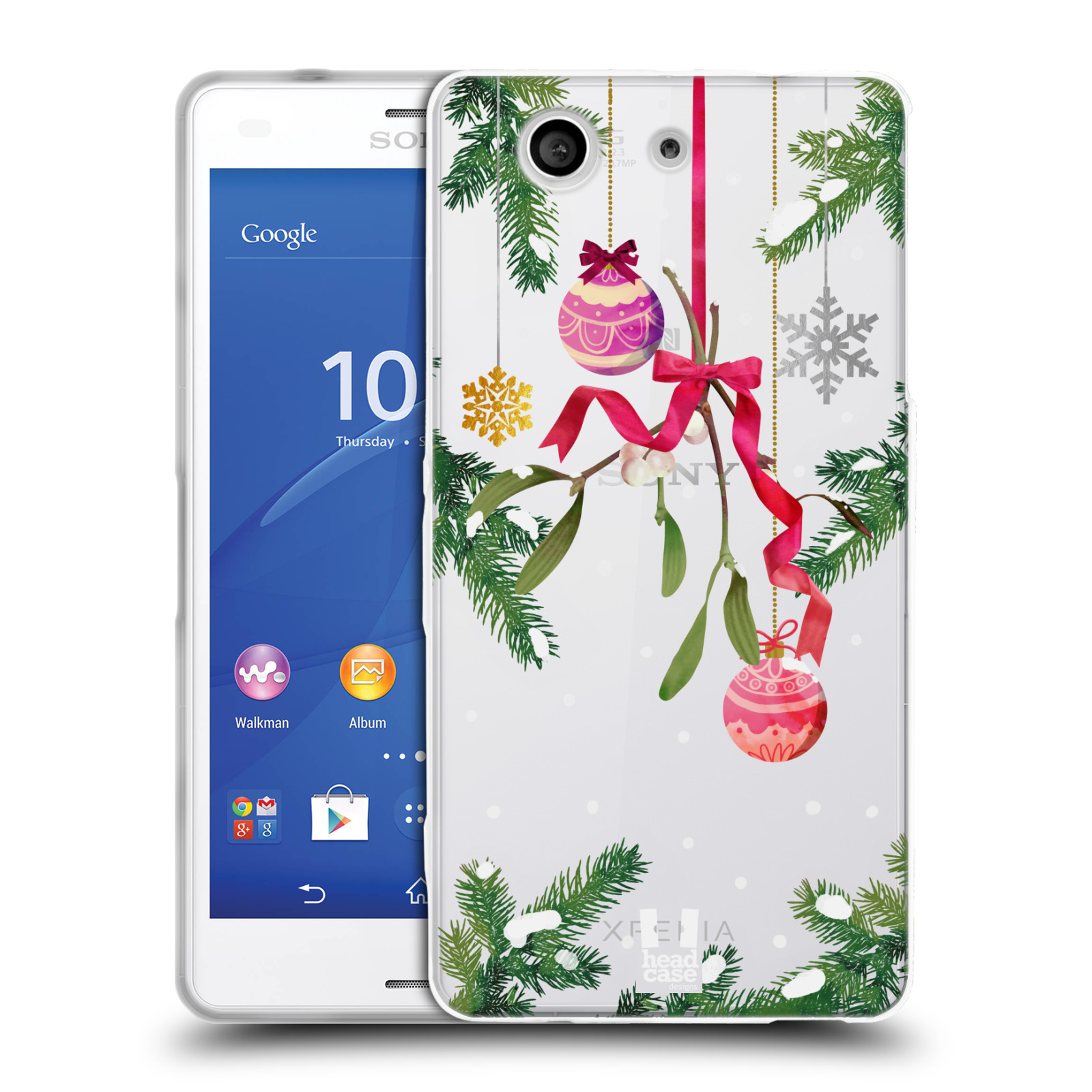 Silikonové pouzdro na mobil Sony Xperia Z3 Compact D5803 - Head Case - Větvičky a vánoční ozdoby