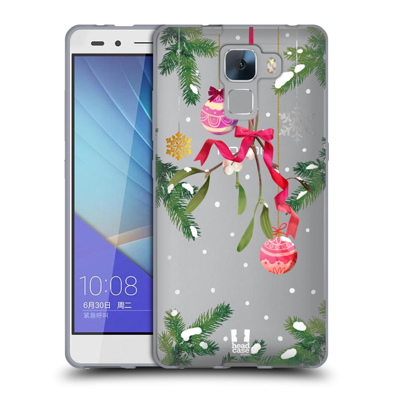 Silikonové pouzdro na mobil Honor 7 - Head Case - Větvičky a vánoční ozdoby