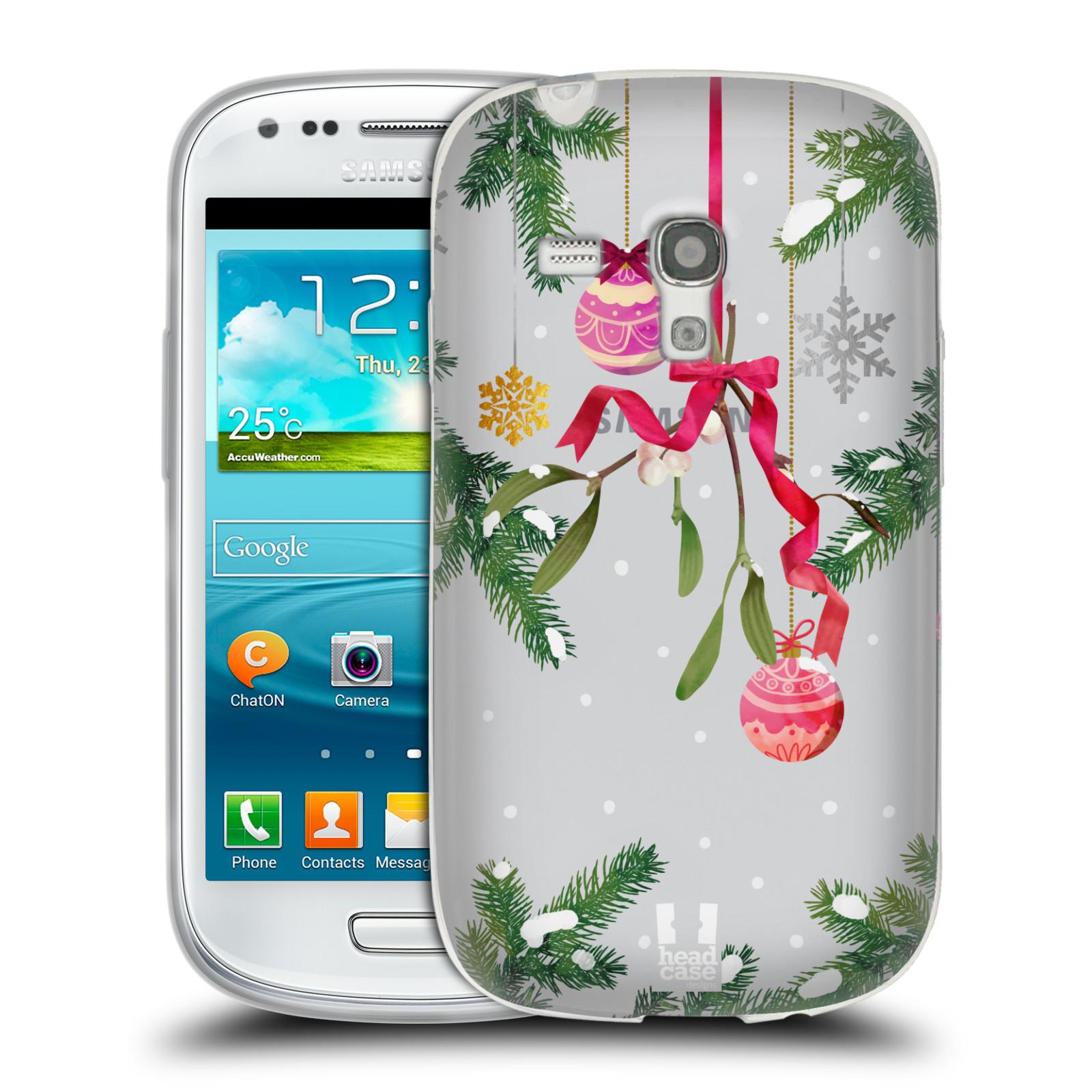 Silikonové pouzdro na mobil Samsung Galaxy S III Mini - Head Case - Větvičky a vánoční ozdoby