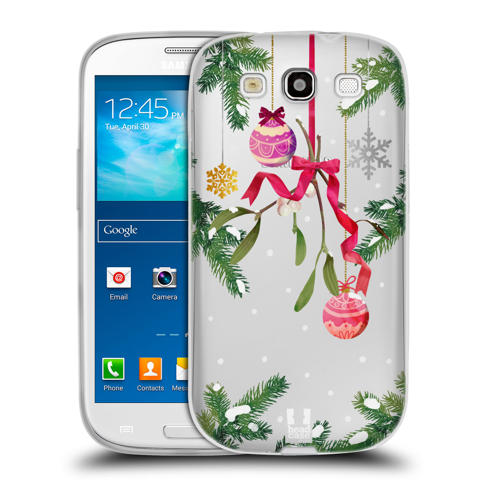 Silikonové pouzdro na mobil Samsung Galaxy S3 Neo - Head Case - Větvičky a vánoční ozdoby