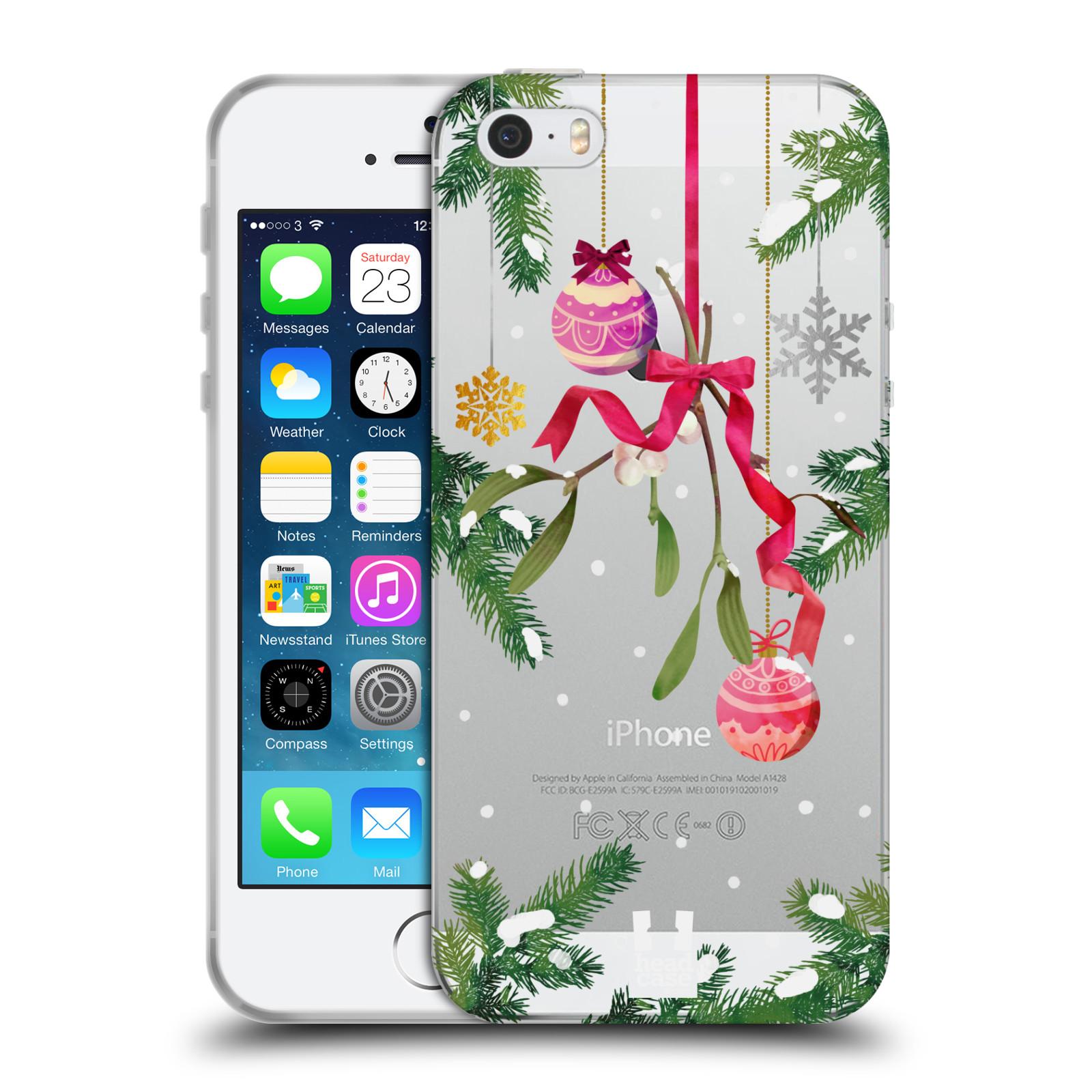 Silikonové pouzdro na mobil Apple iPhone 5, 5S, SE - Head Case - Větvičky a vánoční ozdoby