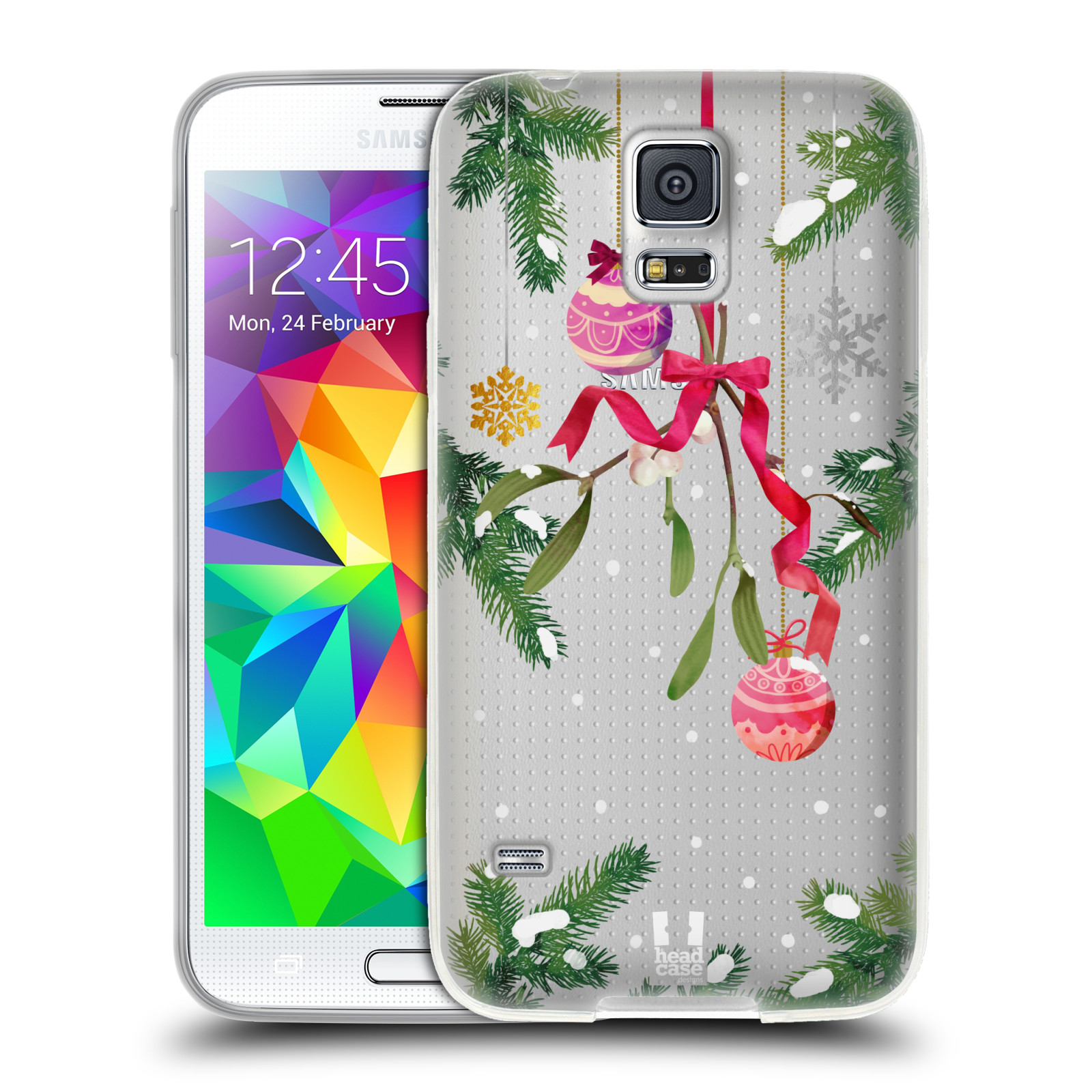 Silikonové pouzdro na mobil Samsung Galaxy S5 Neo - Head Case - Větvičky a vánoční ozdoby