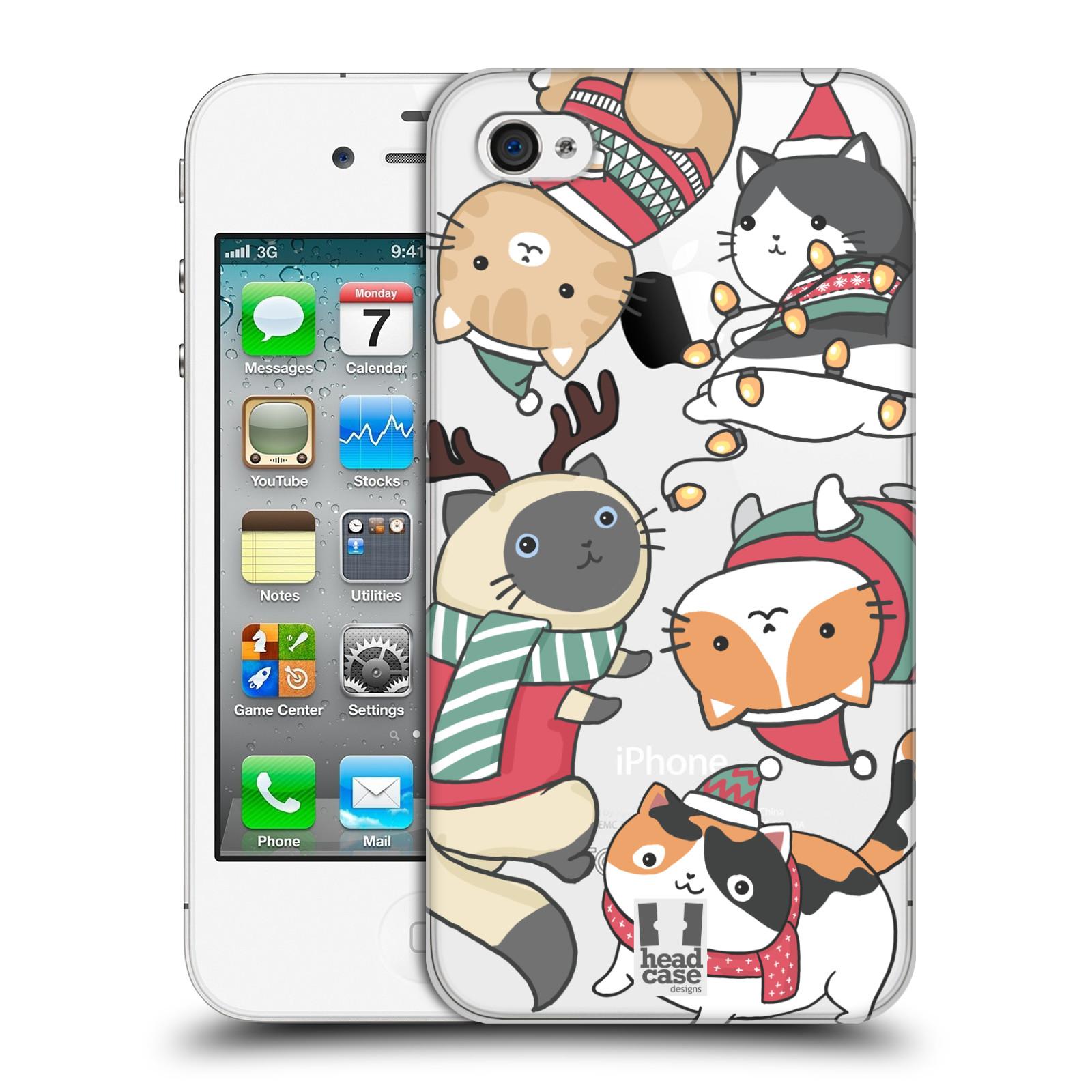 Plastové pouzdro na mobil Apple iPhone 4 a 4S - Head Case - Vánoční kočičky