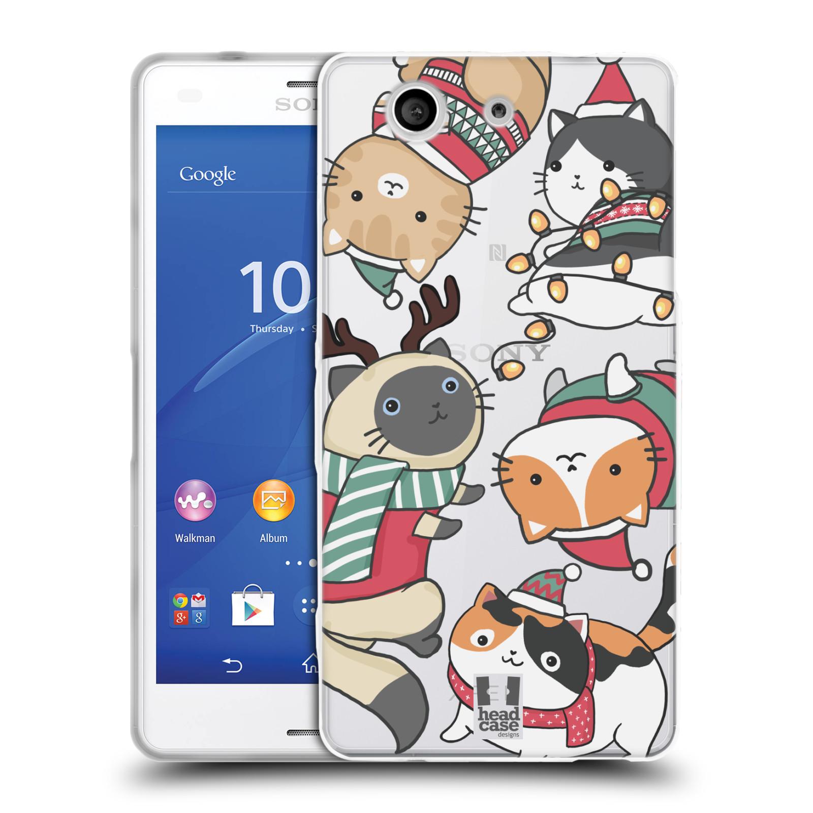 Silikonové pouzdro na mobil Sony Xperia Z3 Compact D5803 - Head Case - Vánoční kočičky