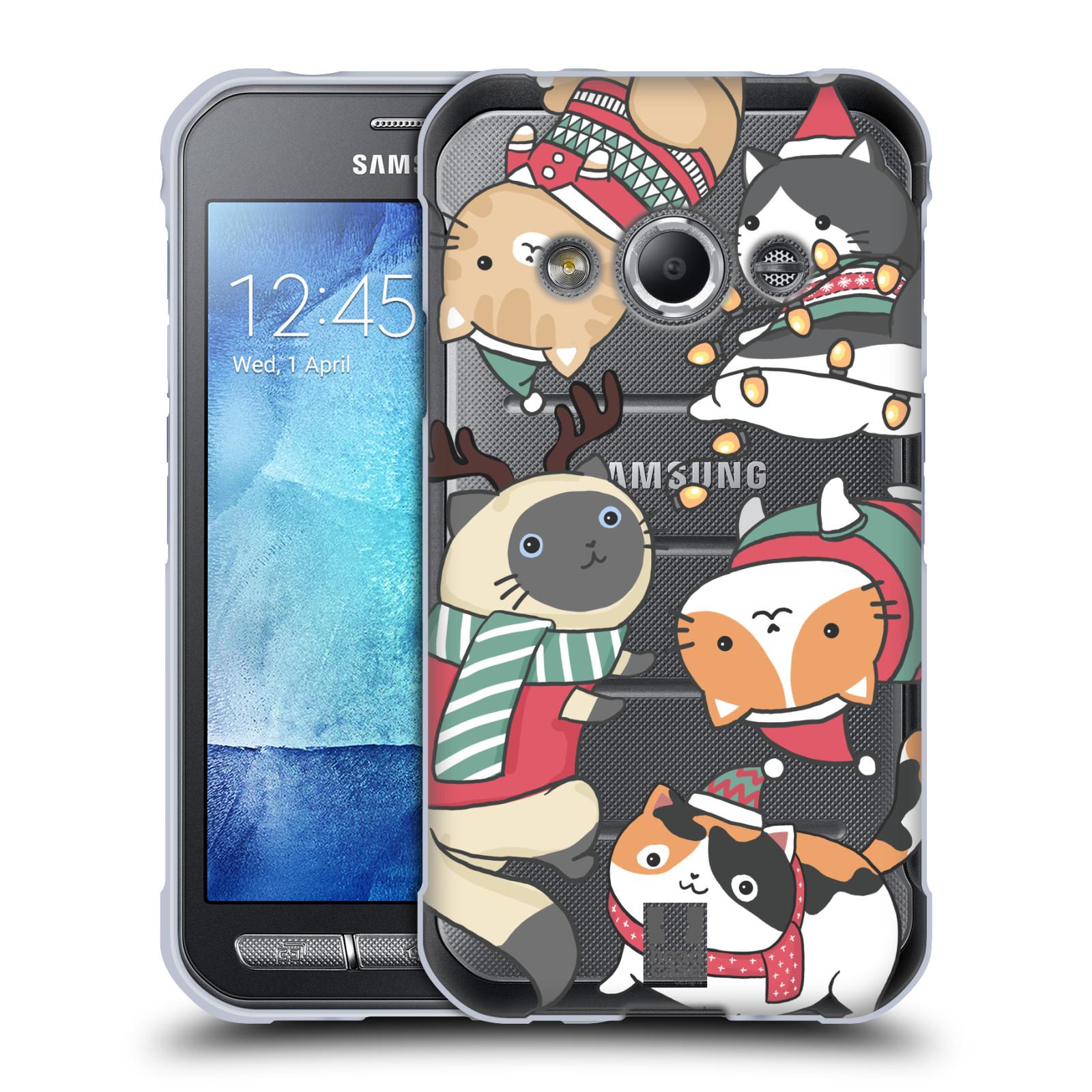 Silikonové pouzdro na mobil Samsung Galaxy Xcover 3 - Head Case - Vánoční kočičky