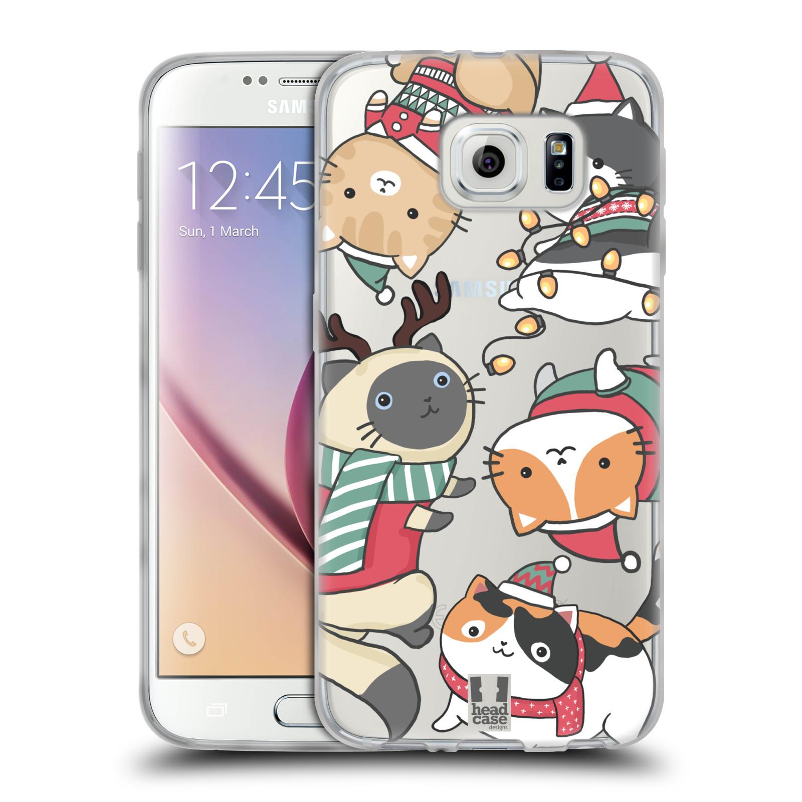 Silikonové pouzdro na mobil Samsung Galaxy S6 - Head Case - Vánoční kočičky