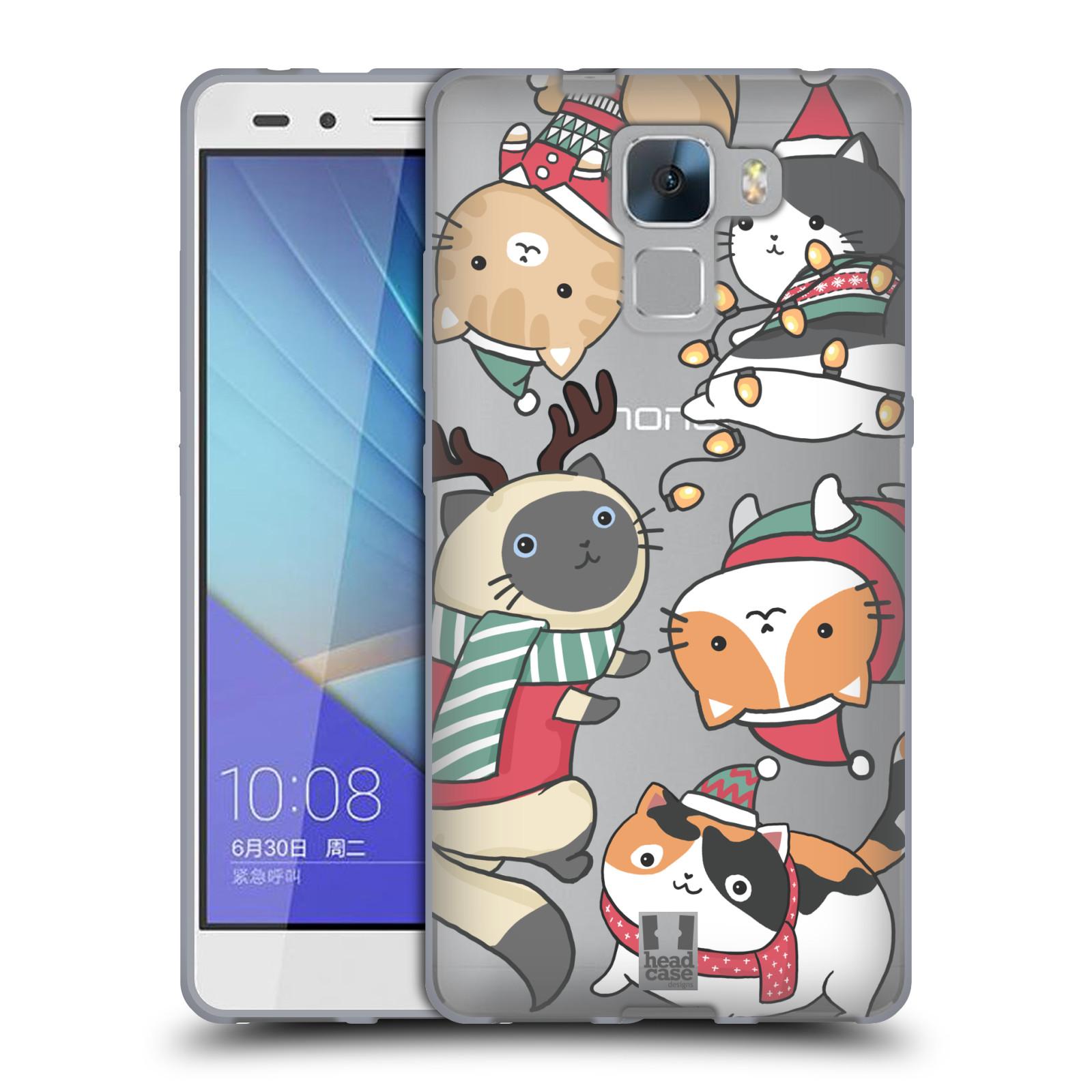 Silikonové pouzdro na mobil Honor 7 - Head Case - Vánoční kočičky