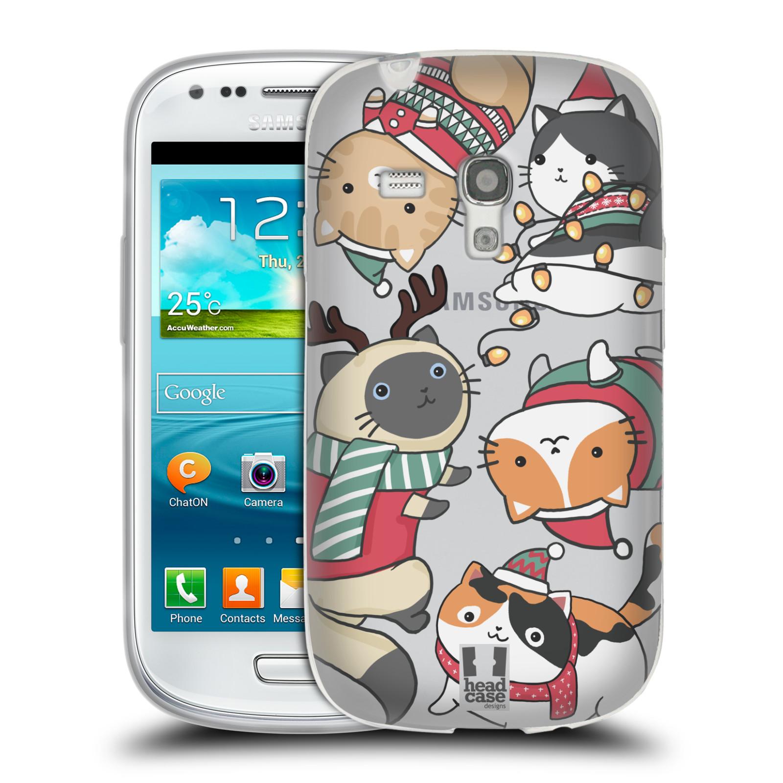 Silikonové pouzdro na mobil Samsung Galaxy S III Mini - Head Case - Vánoční kočičky