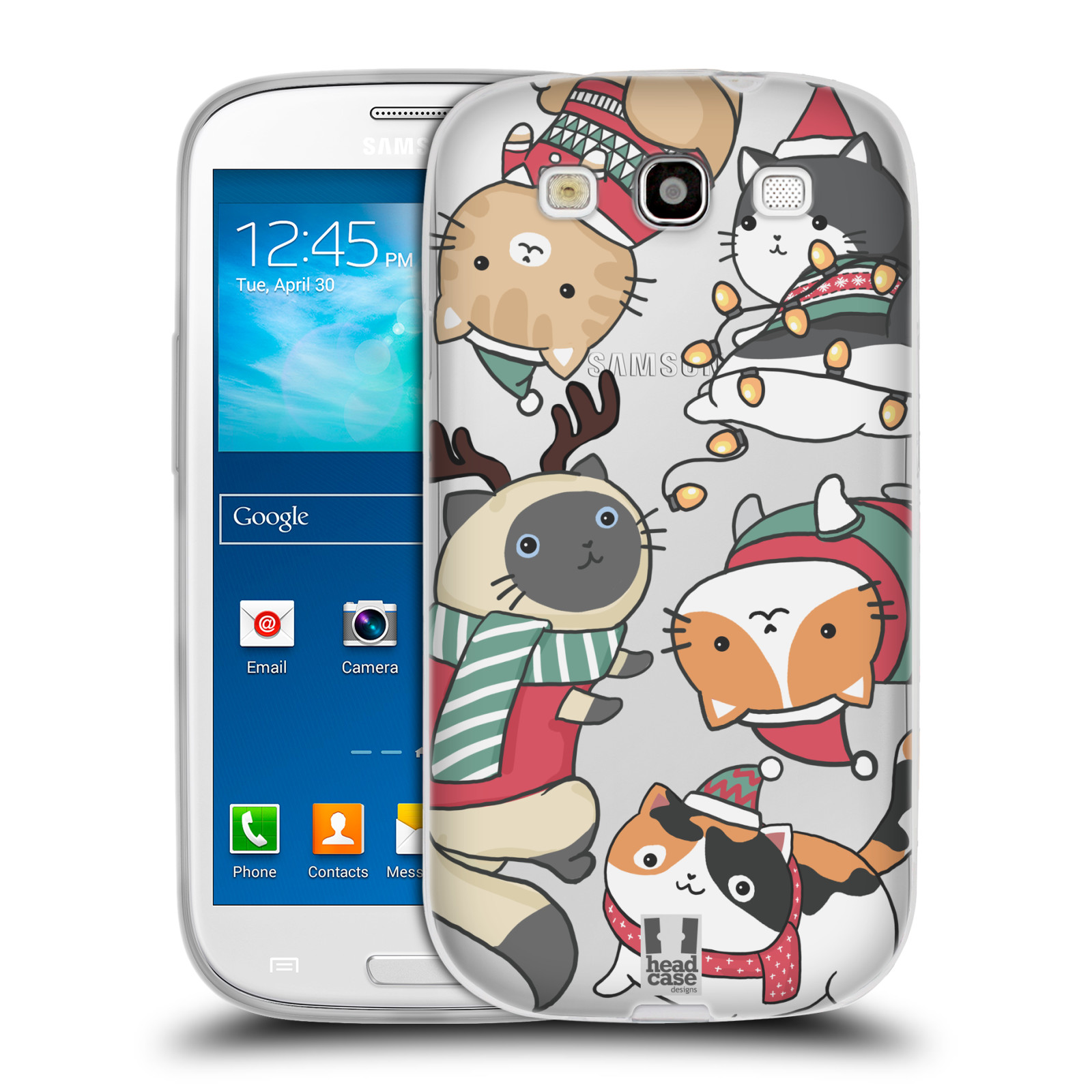 Silikonové pouzdro na mobil Samsung Galaxy S3 Neo - Head Case - Vánoční kočičky