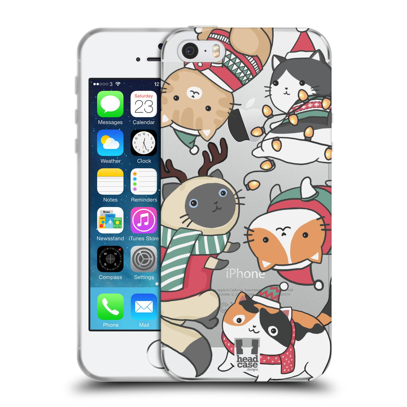 Silikonové pouzdro na mobil Apple iPhone 5, 5S, SE - Head Case - Vánoční kočičky