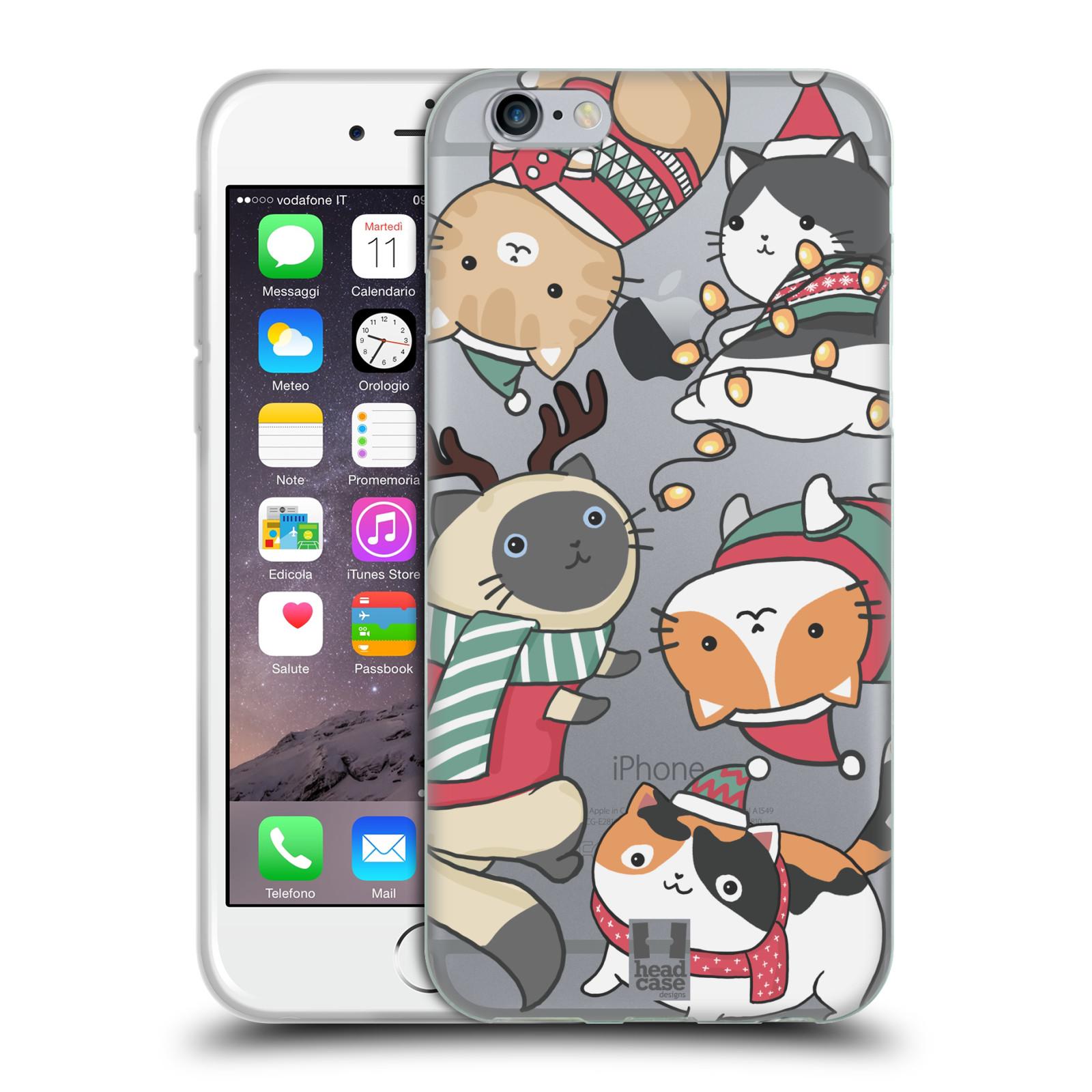 Silikonové pouzdro na mobil Apple iPhone 6 - Head Case - Vánoční kočičky