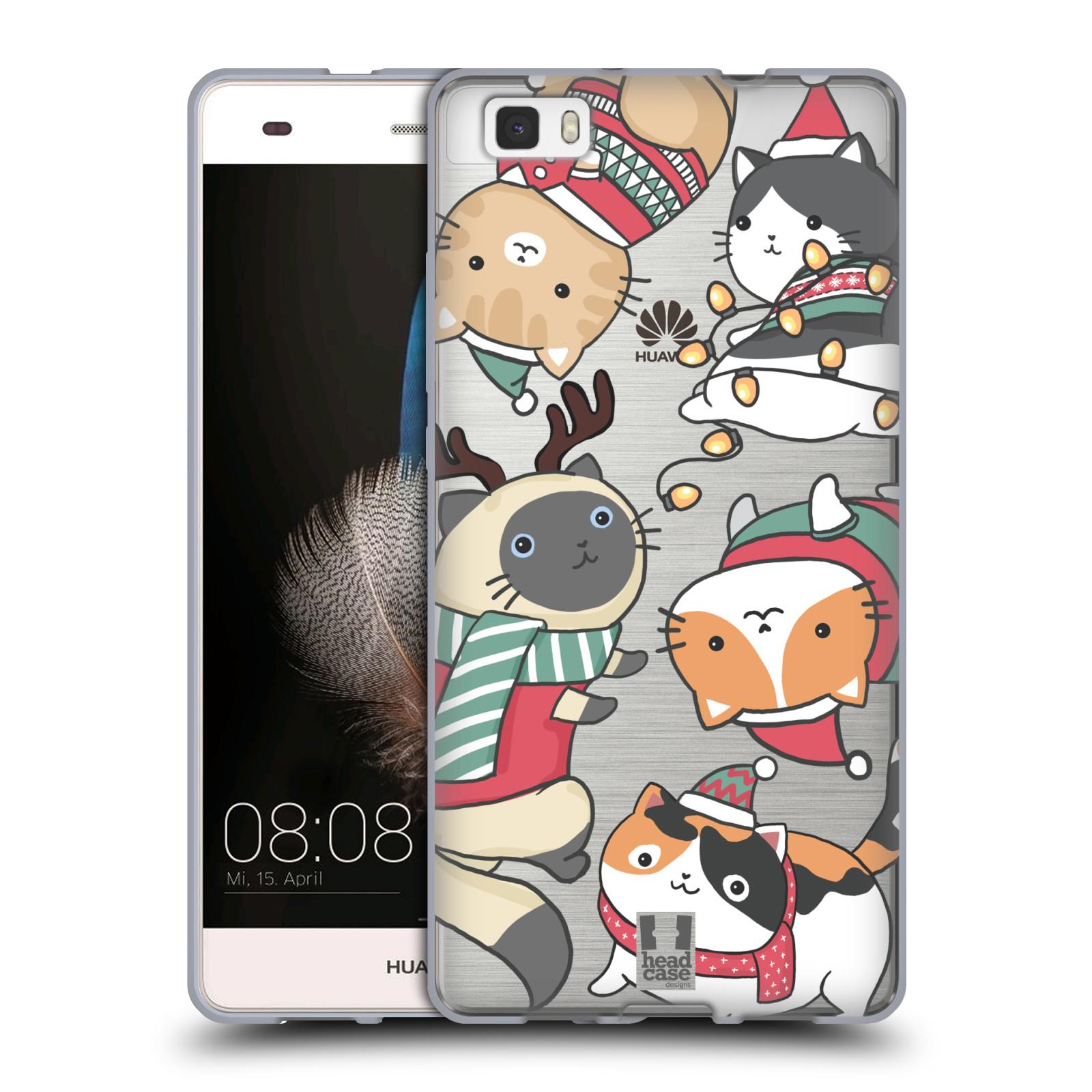 Silikonové pouzdro na mobil Huawei P8 Lite - Head Case - Vánoční kočičky