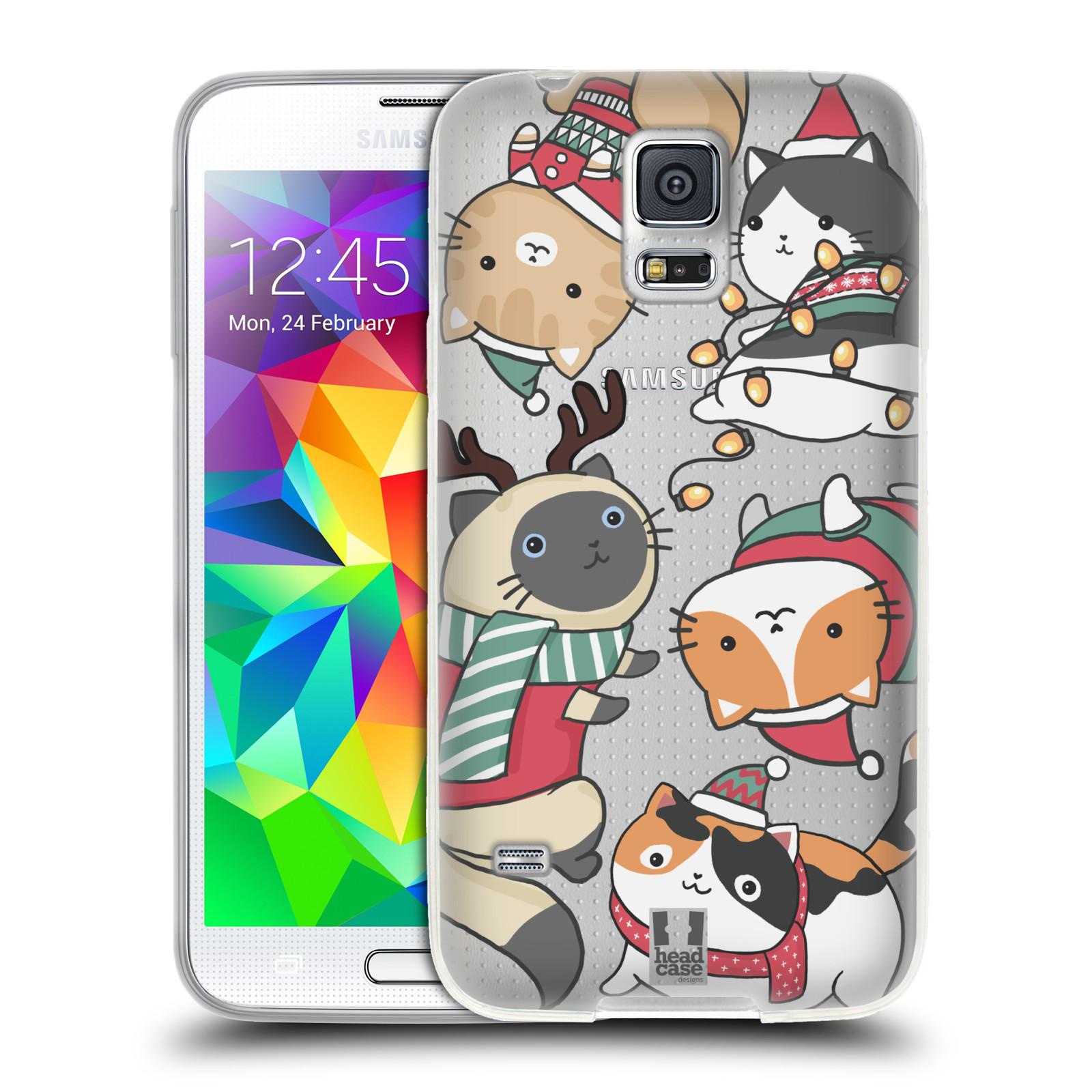 Silikonové pouzdro na mobil Samsung Galaxy S5 Neo - Head Case - Vánoční kočičky