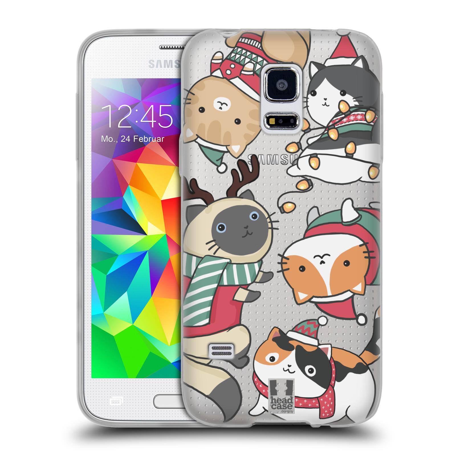 Silikonové pouzdro na mobil Samsung Galaxy S5 Mini - Head Case - Vánoční kočičky