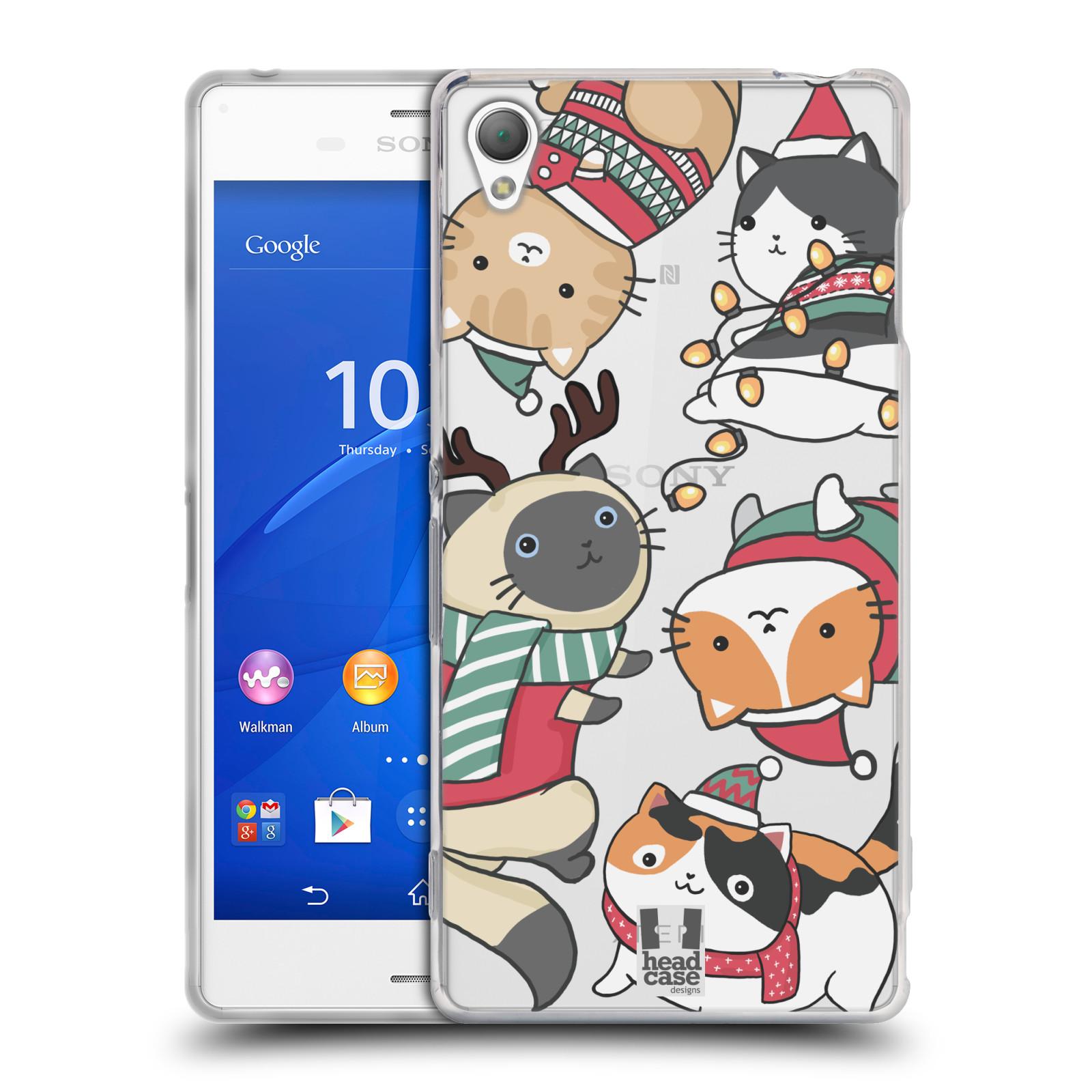 Silikonové pouzdro na mobil Sony Xperia Z3 D6603 - Head Case - Vánoční kočičky