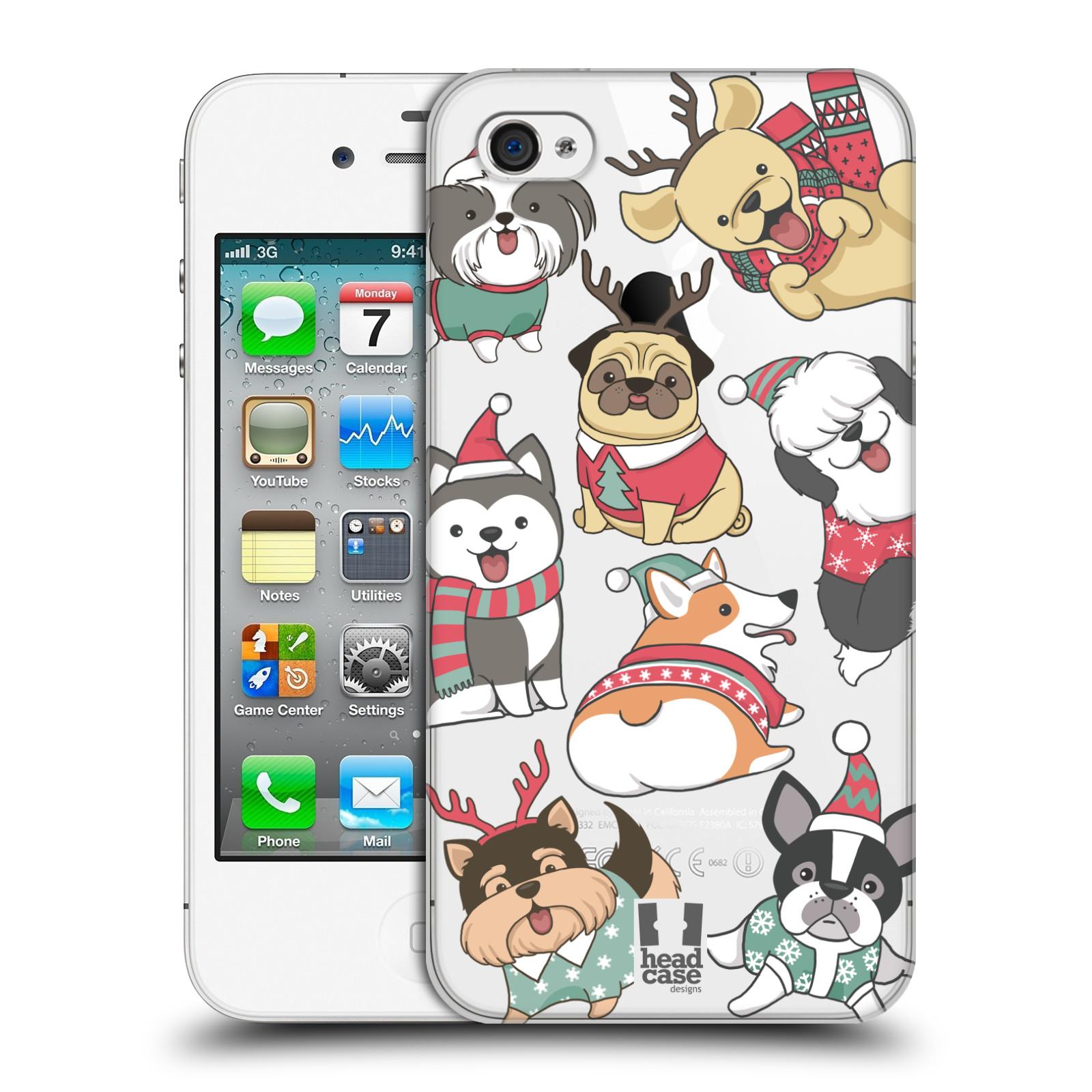 Plastové pouzdro na mobil Apple iPhone 4 a 4S - Head Case - Vánoční pejsci