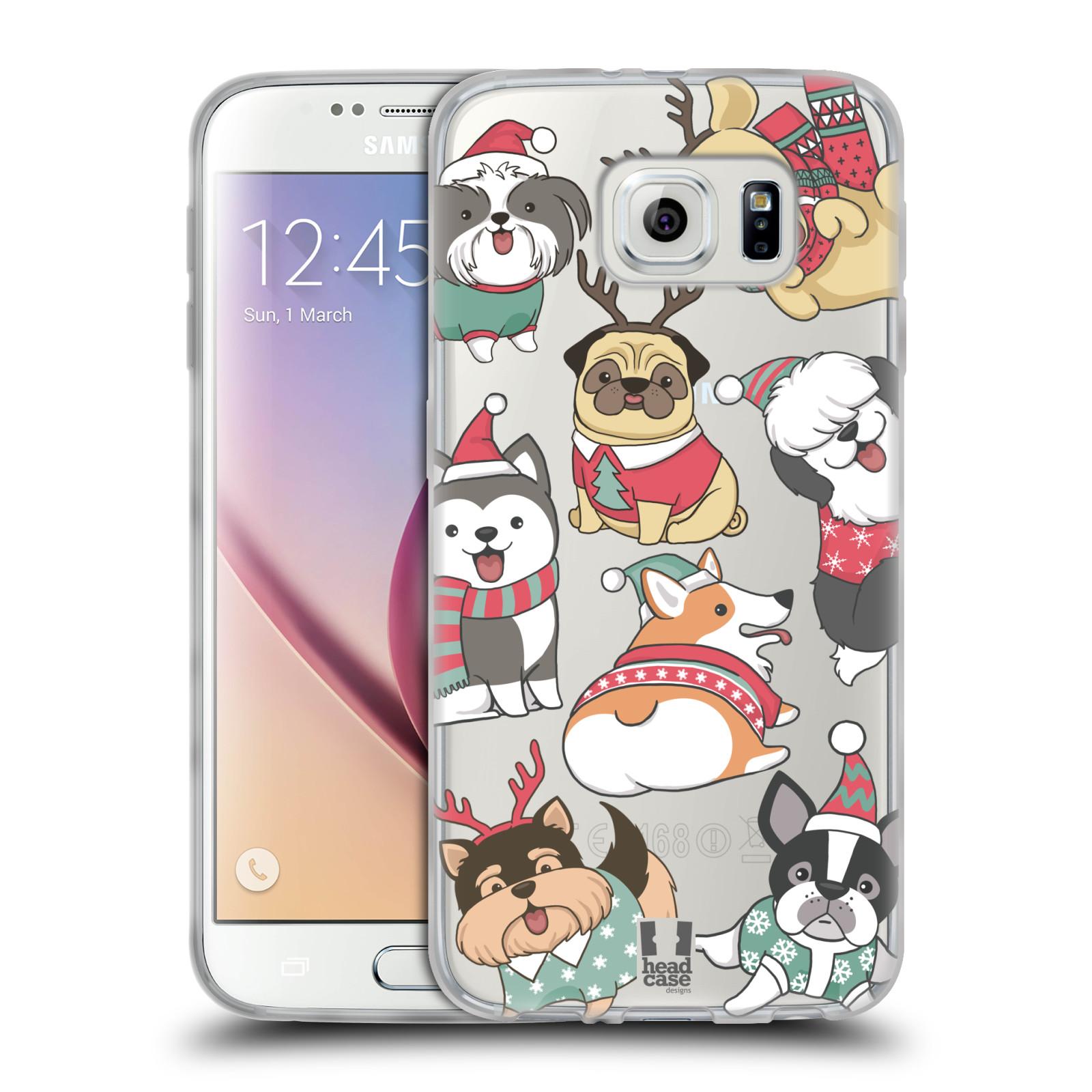 Silikonové pouzdro na mobil Samsung Galaxy S6 - Head Case - Vánoční pejsci