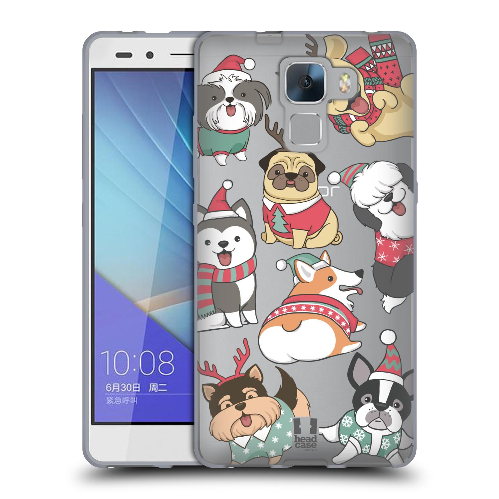 Silikonové pouzdro na mobil Honor 7 - Head Case - Vánoční pejsci