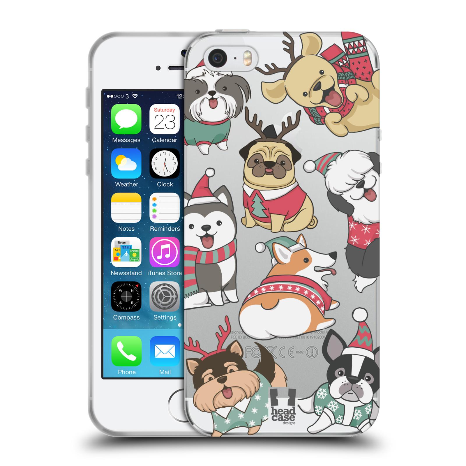 Silikonové pouzdro na mobil Apple iPhone 5, 5S, SE - Head Case - Vánoční pejsci