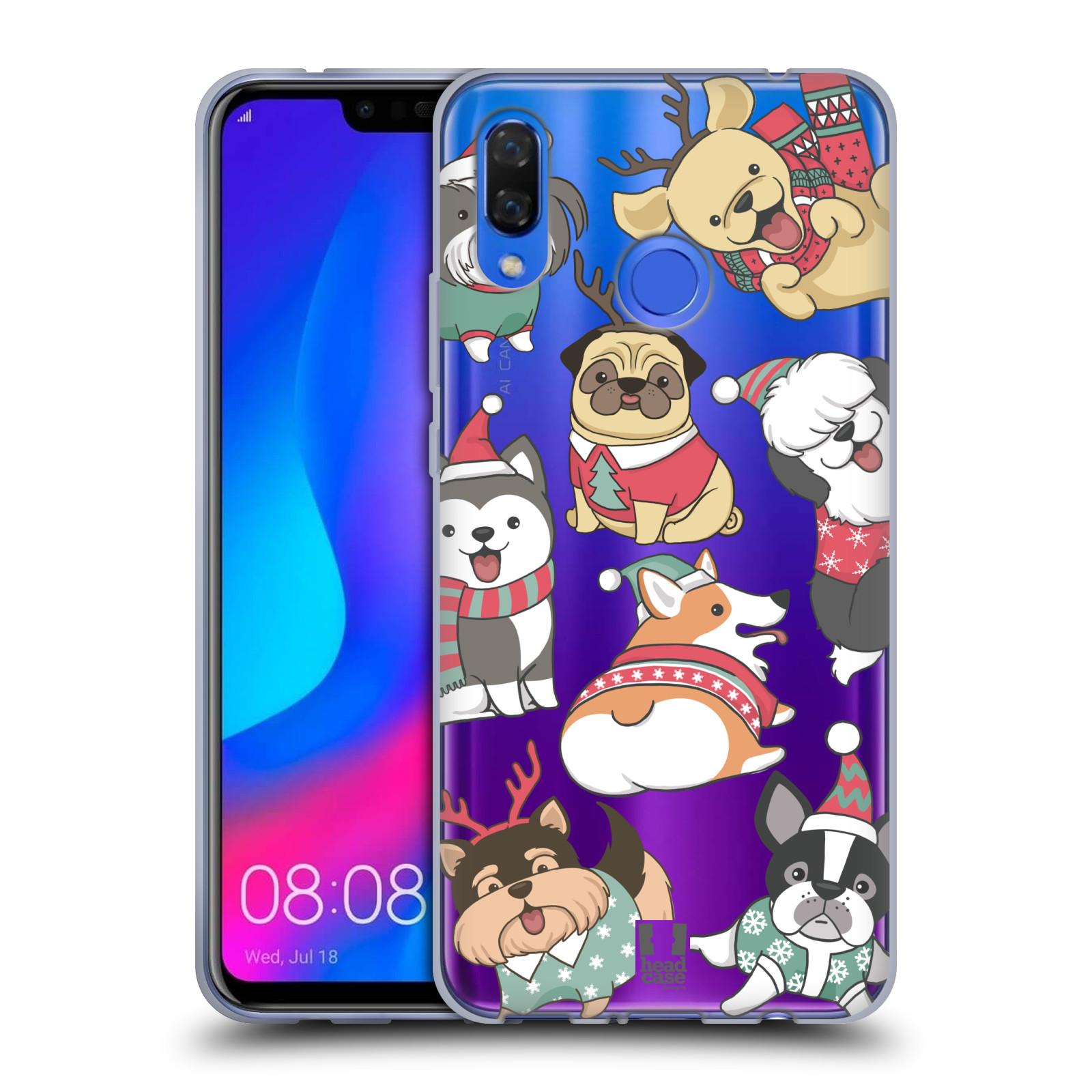 Silikonové pouzdro na mobil Huawei Nova 3 - Head Case - Vánoční pejsci