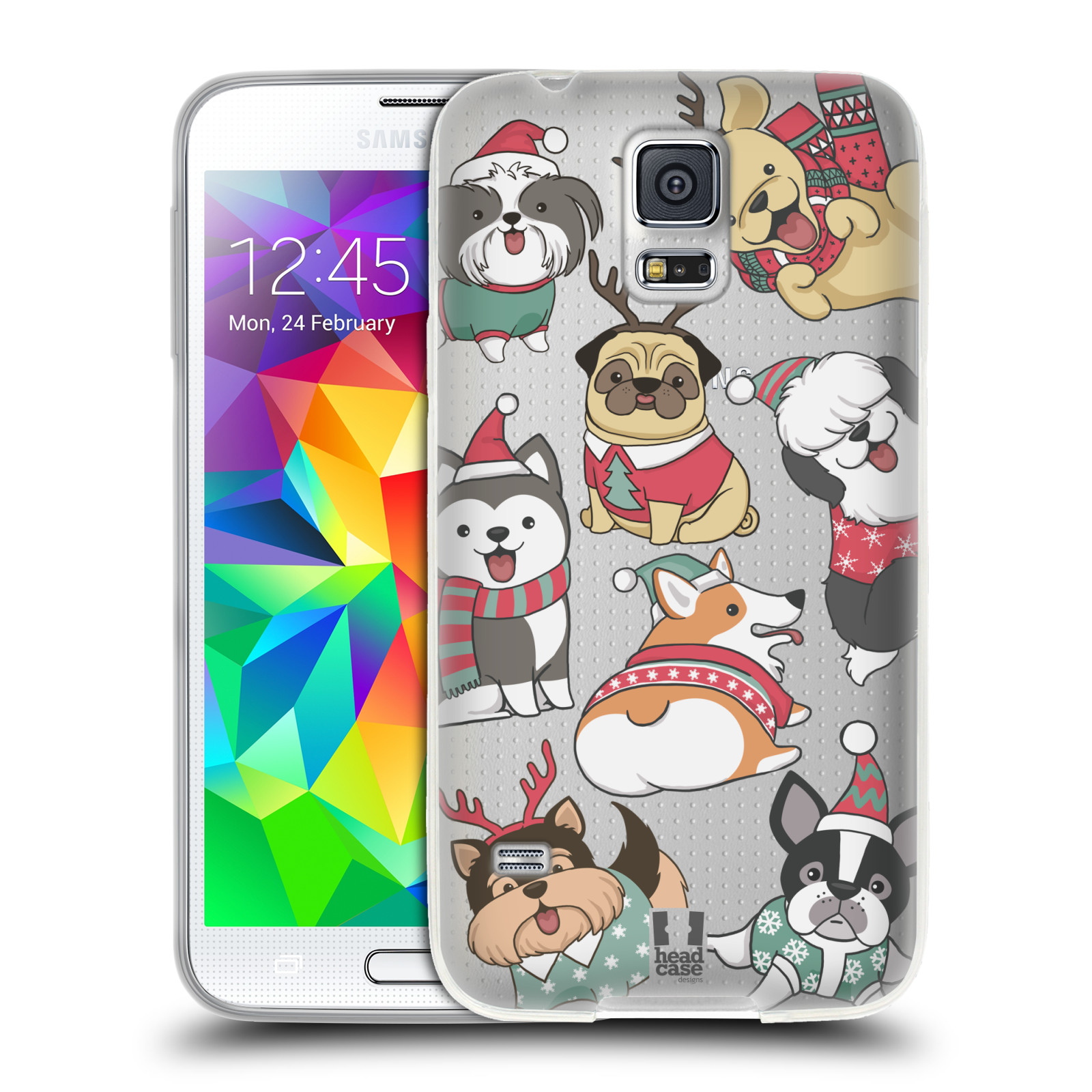 Silikonové pouzdro na mobil Samsung Galaxy S5 Neo - Head Case - Vánoční pejsci
