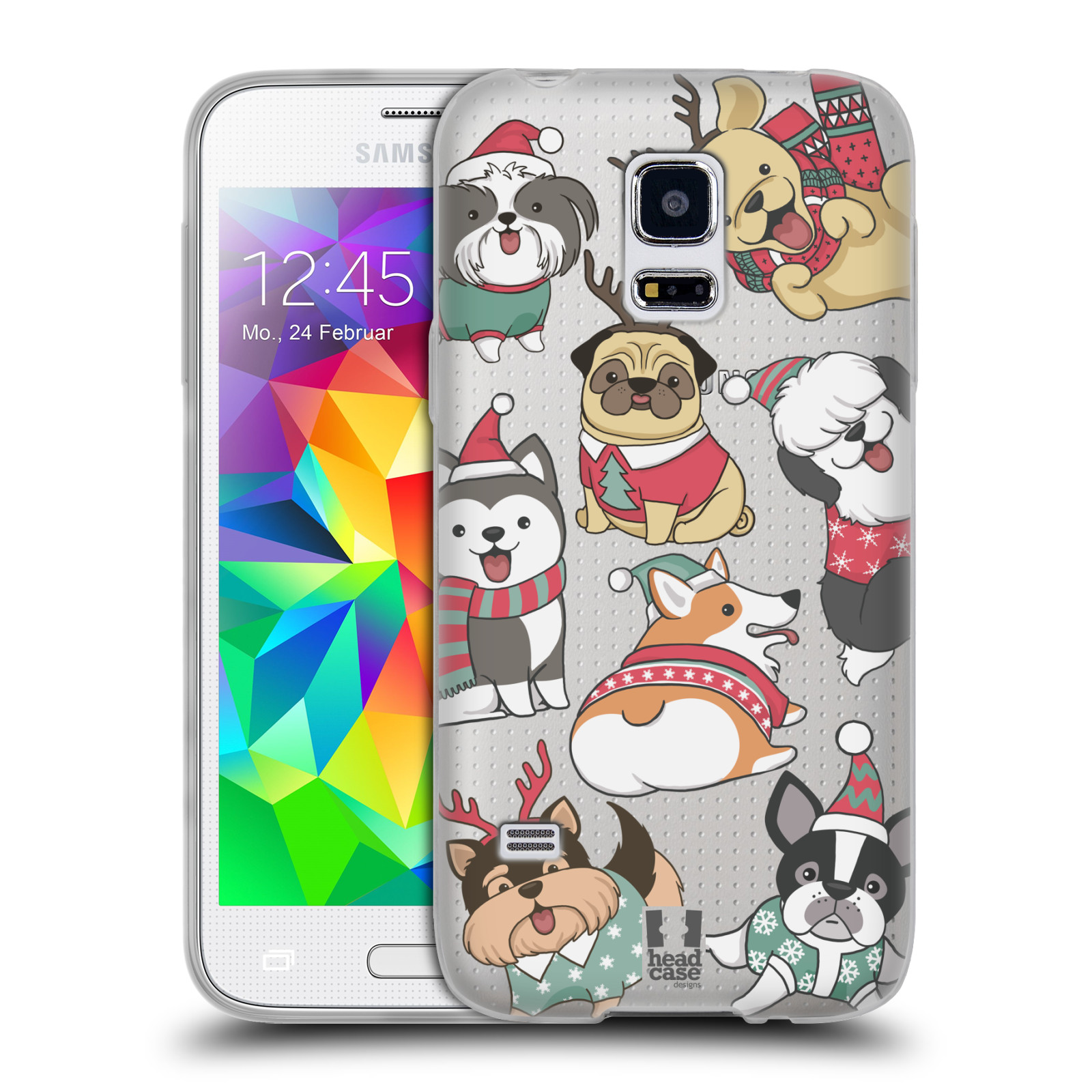 Silikonové pouzdro na mobil Samsung Galaxy S5 Mini - Head Case - Vánoční pejsci