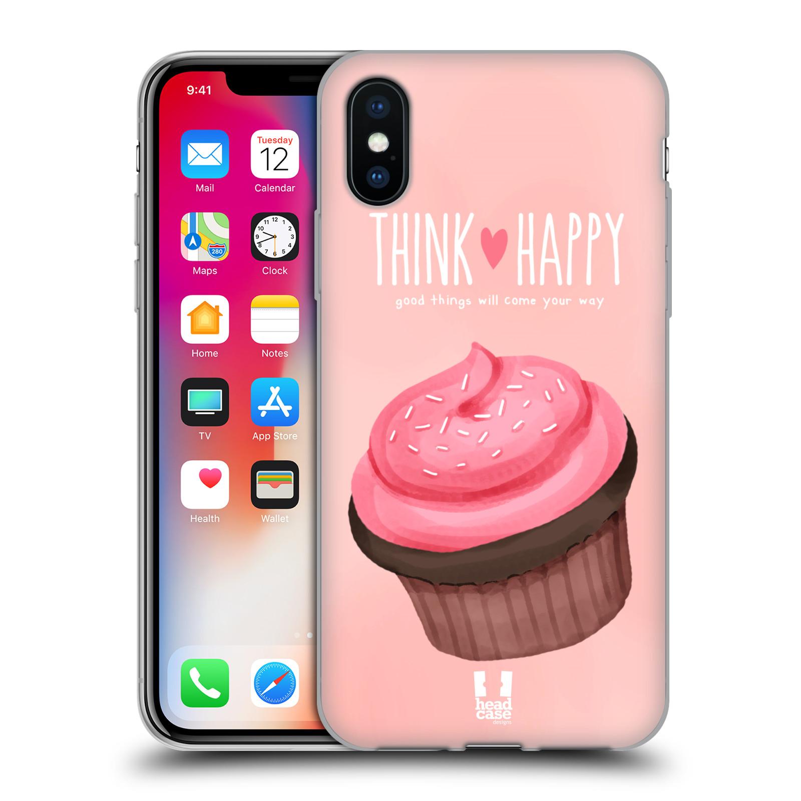Silikonové pouzdro na mobil Apple iPhone XS - Head Case - CUPCAKE THINK HAPPY