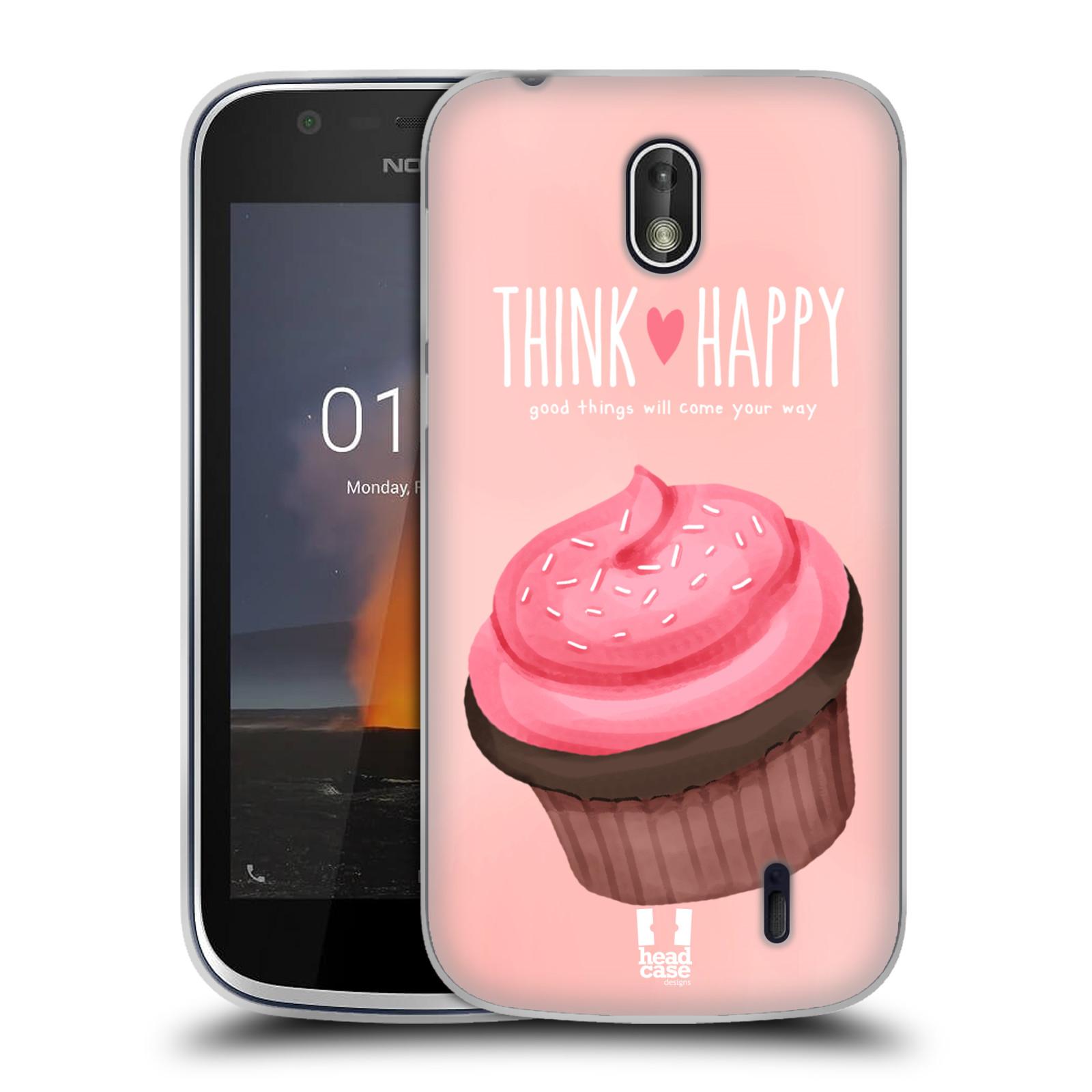 Silikonové pouzdro na mobil Nokia 1 - Head Case - CUPCAKE THINK HAPPY