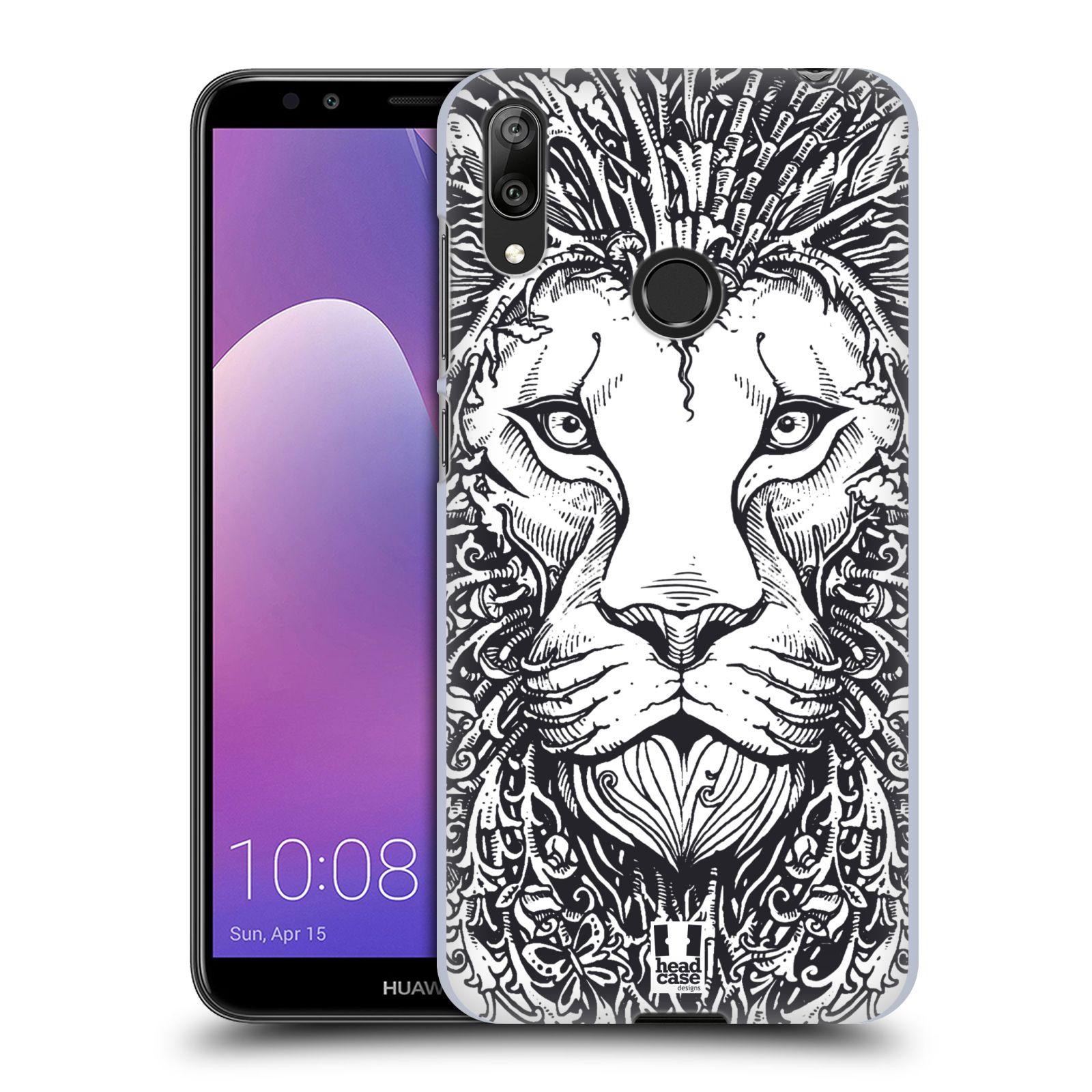 Plastové pouzdro na mobil Huawei Y7 (2019) - Head Case - DOODLE TVÁŘ LEV