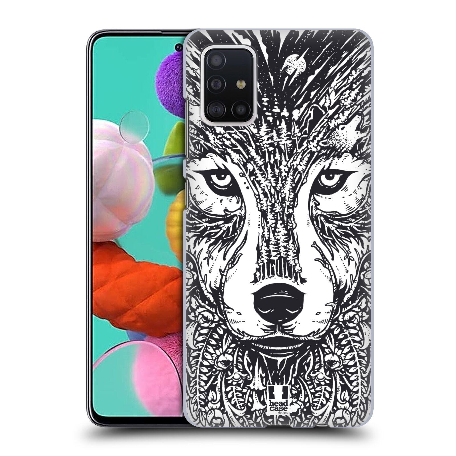 Plastové pouzdro na mobil Samsung Galaxy A51 - Head Case - DOODLE TVÁŘ VLK