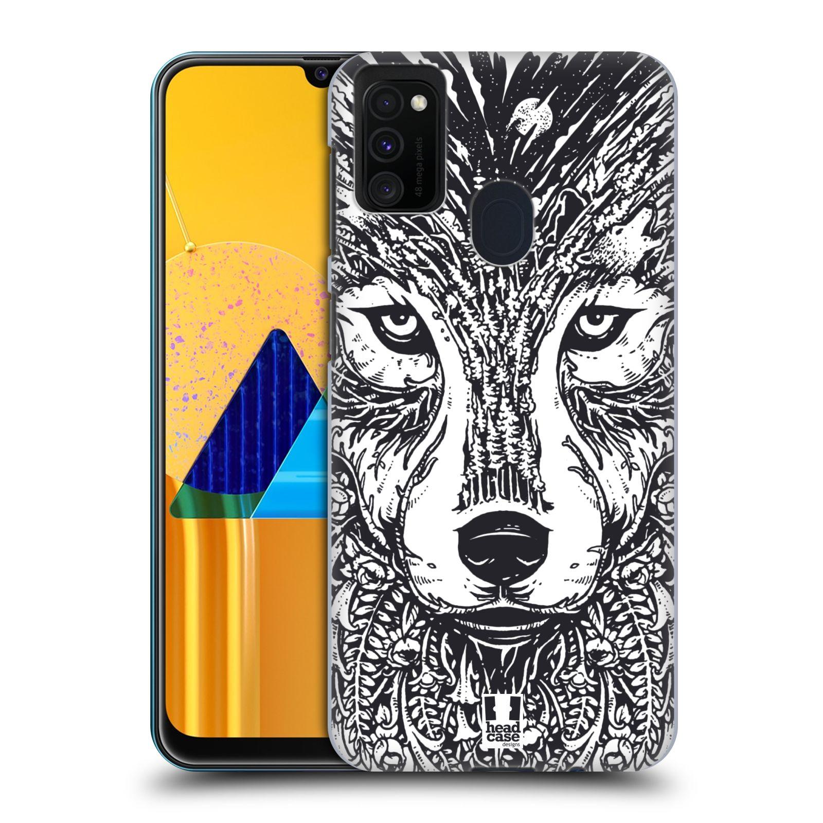 Plastové pouzdro na mobil Samsung Galaxy M21 - Head Case - DOODLE TVÁŘ VLK